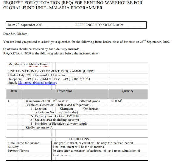 RFQ for Renting Warehouse