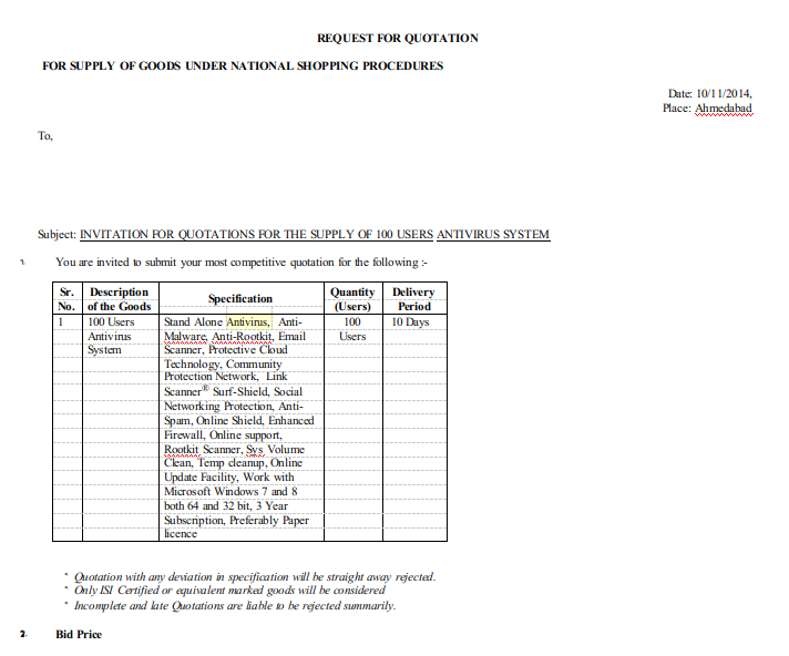 Request for Quotation Format