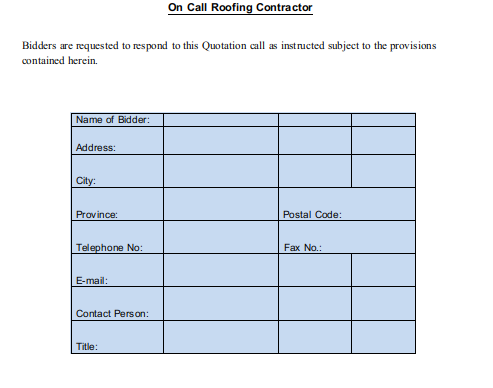 Request for Quotation Roofing