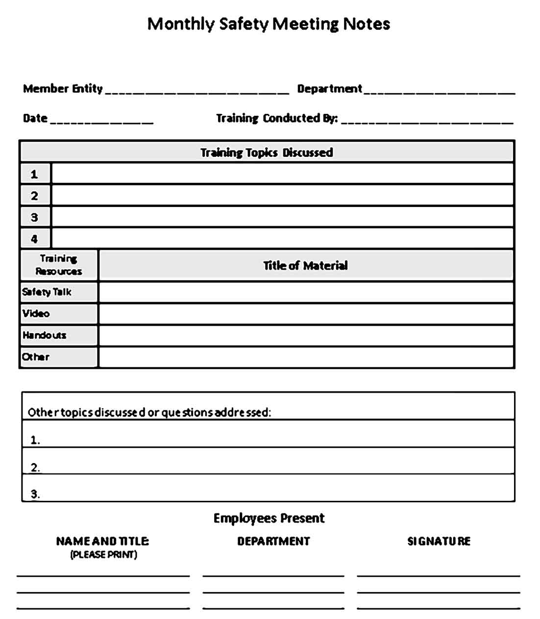 Safety Meeting Notes Template