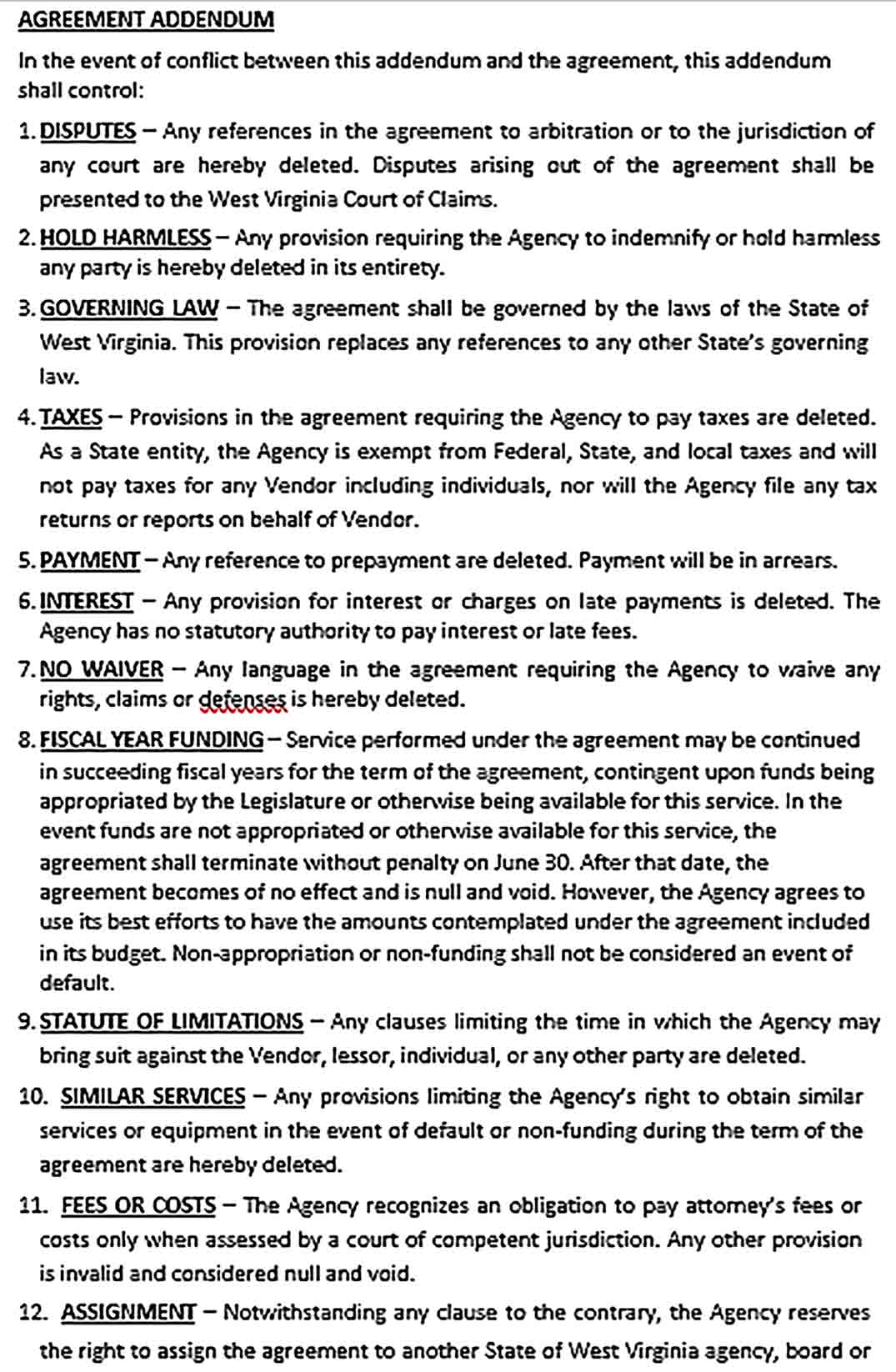 Sample Addendum Agreement