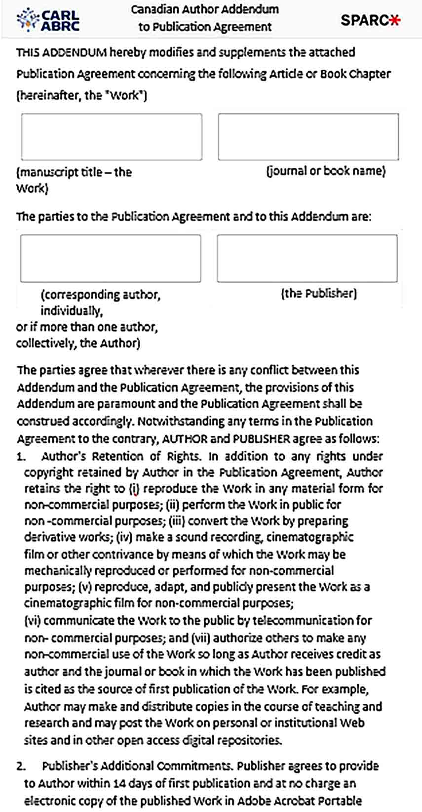 Sample Addendum Agreement for Publications