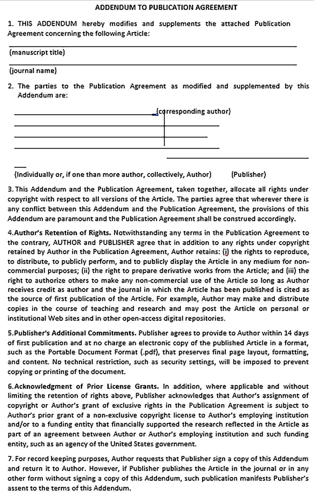 Sample Addendum to Publication Agreement