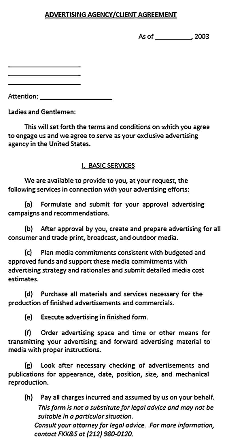 Sample Advertising Agency Agreement