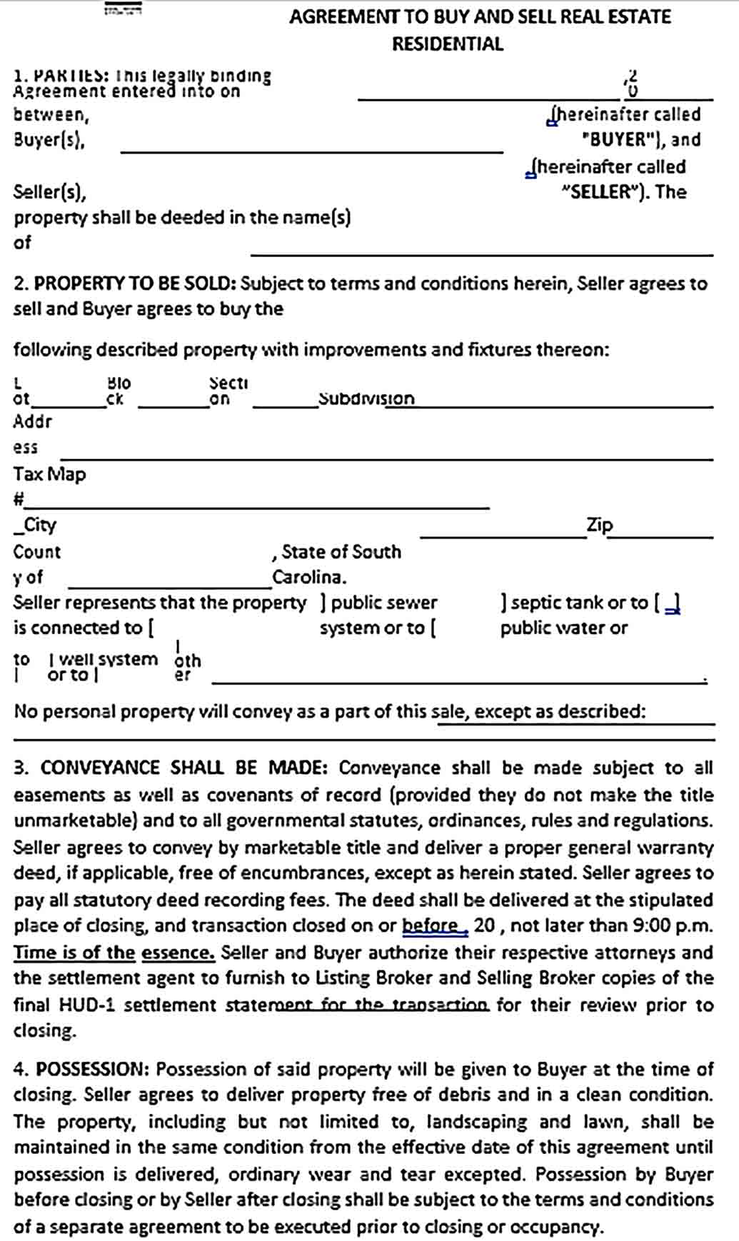 Sample Agreement To Buy Sell Real Estate Format