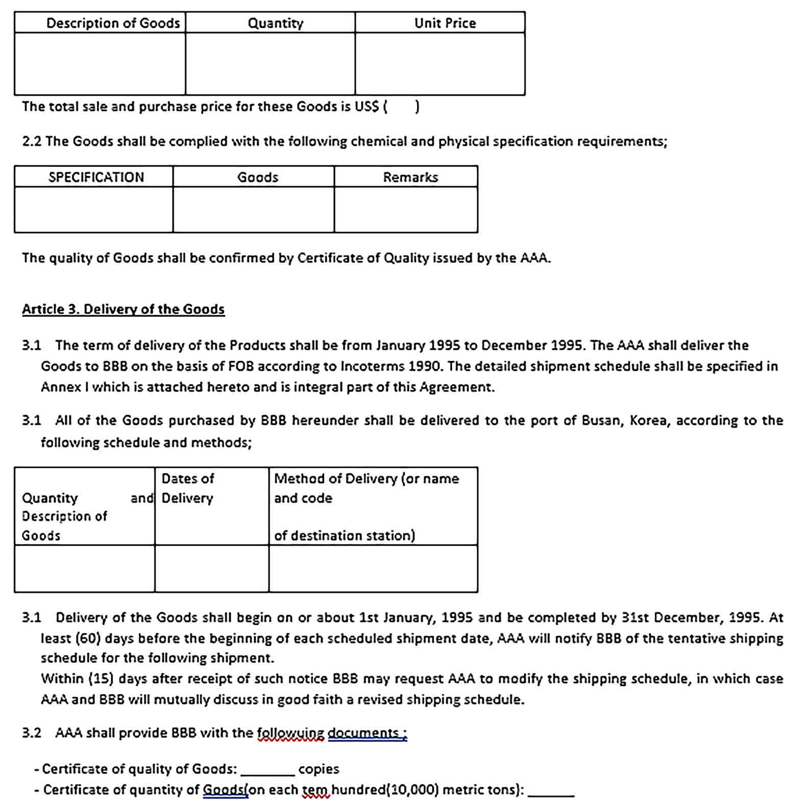 Sample Agreement for the Barter of Goods and Products