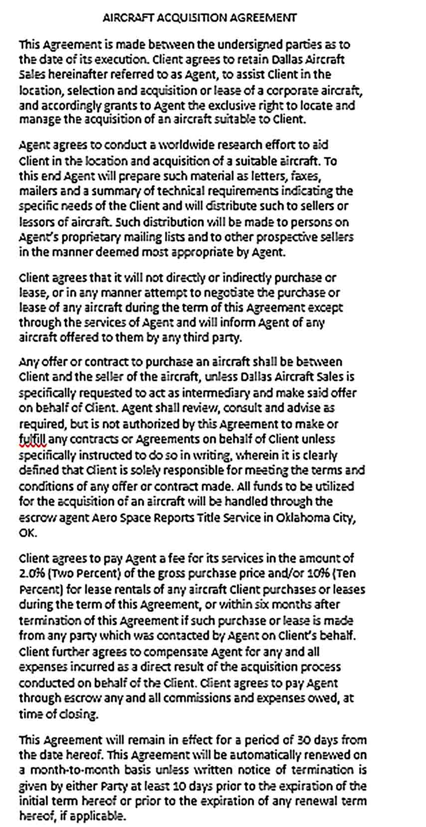 Sample Aircraft Acquisition Agreement