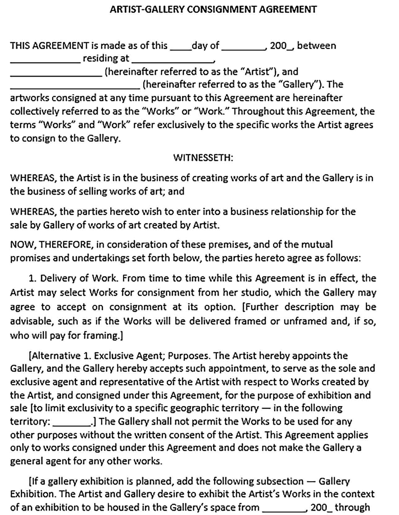 Sample Artist Gallery Consignment Agreement
