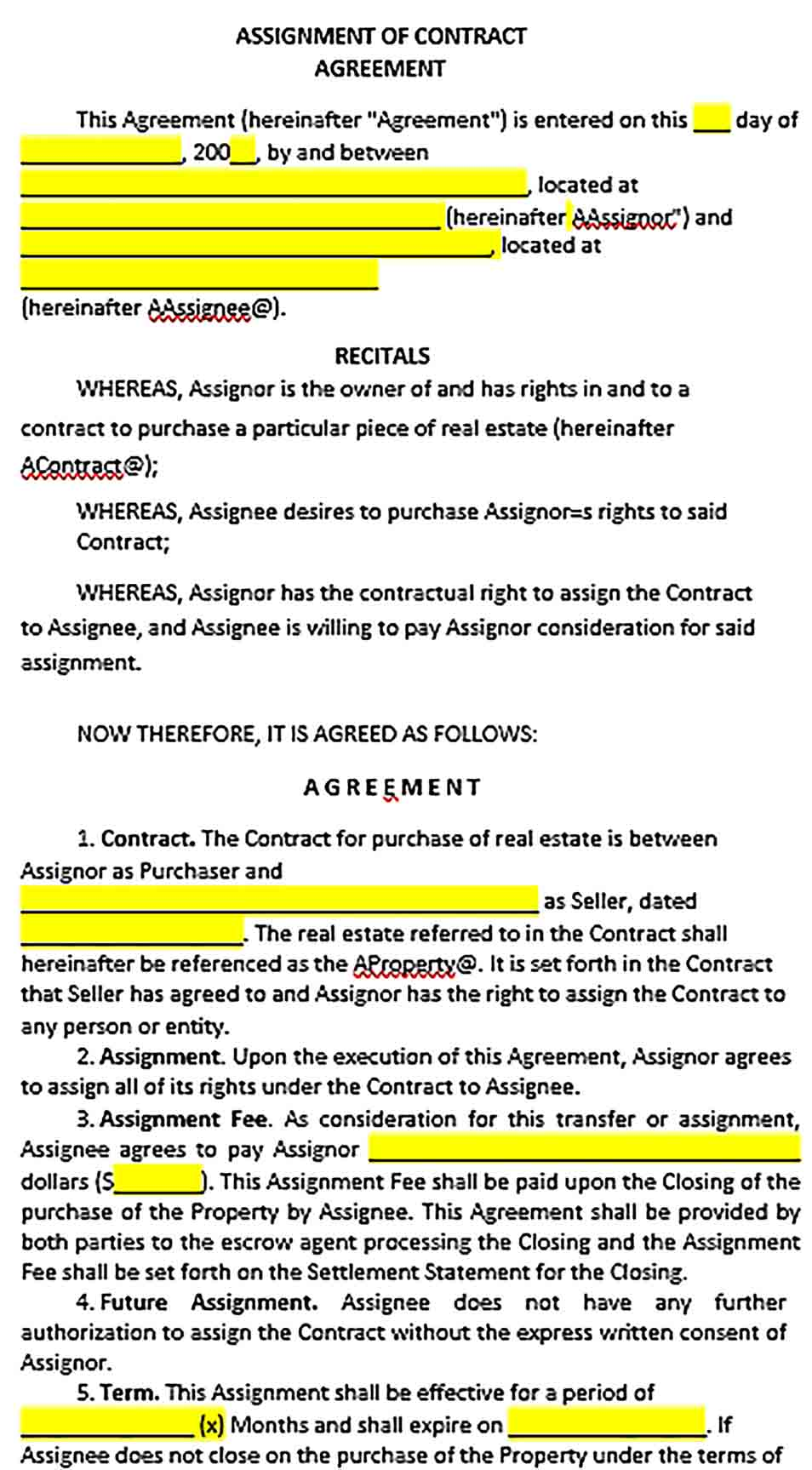 Sample Assignment of Contract Agreement