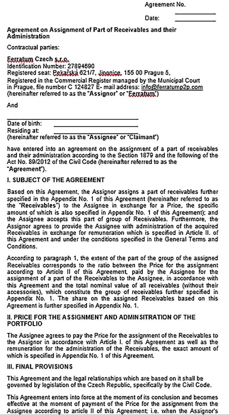 Sample Assignment of Receivables Agreement