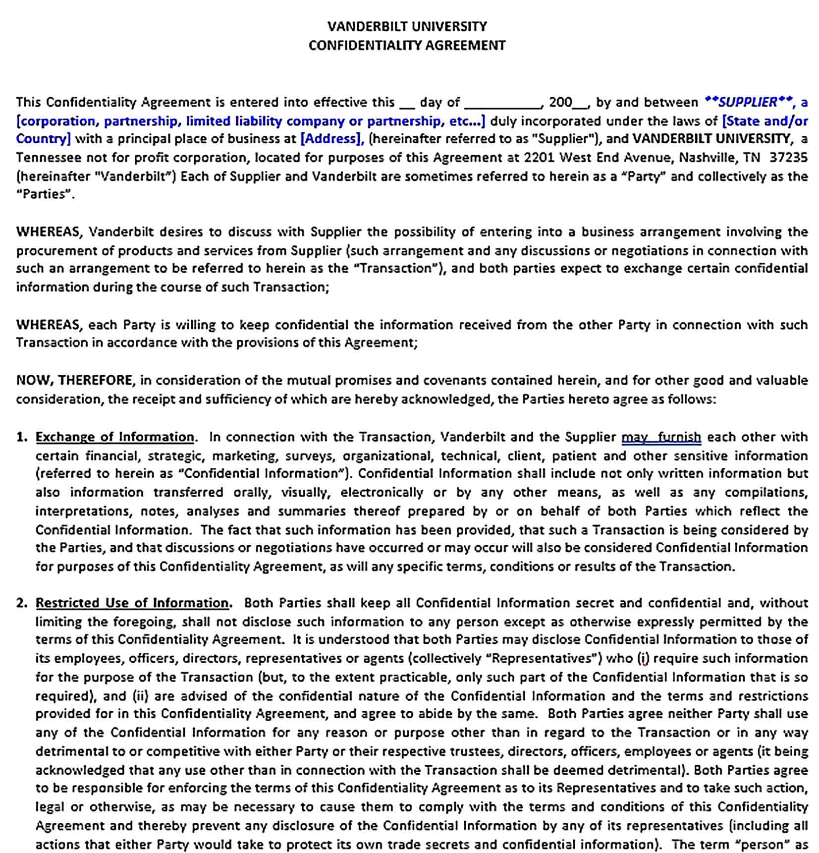 Sample Basic Confidentiality Agreement for Financial Information