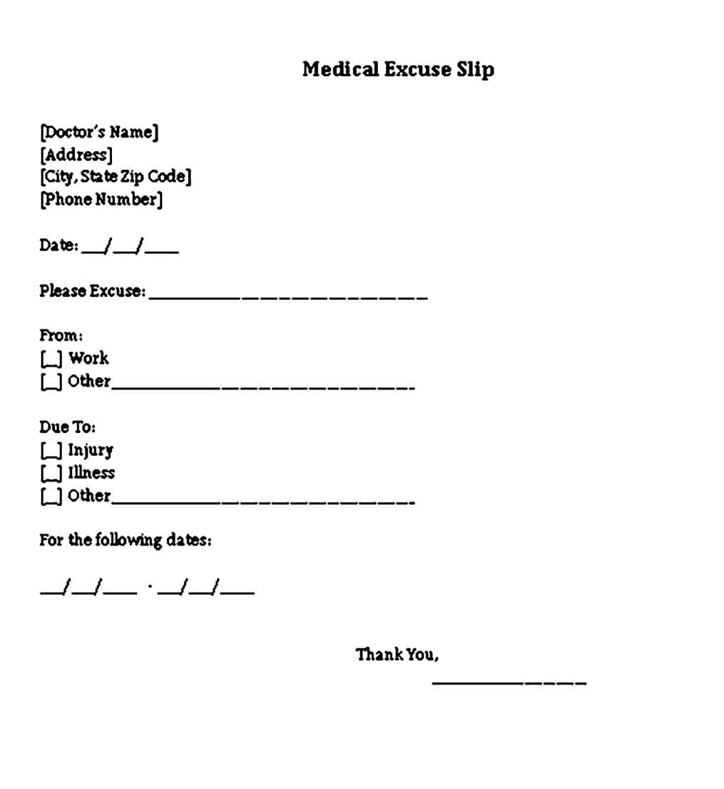 Sample Blank Doctors Note for Missing Work Excuse