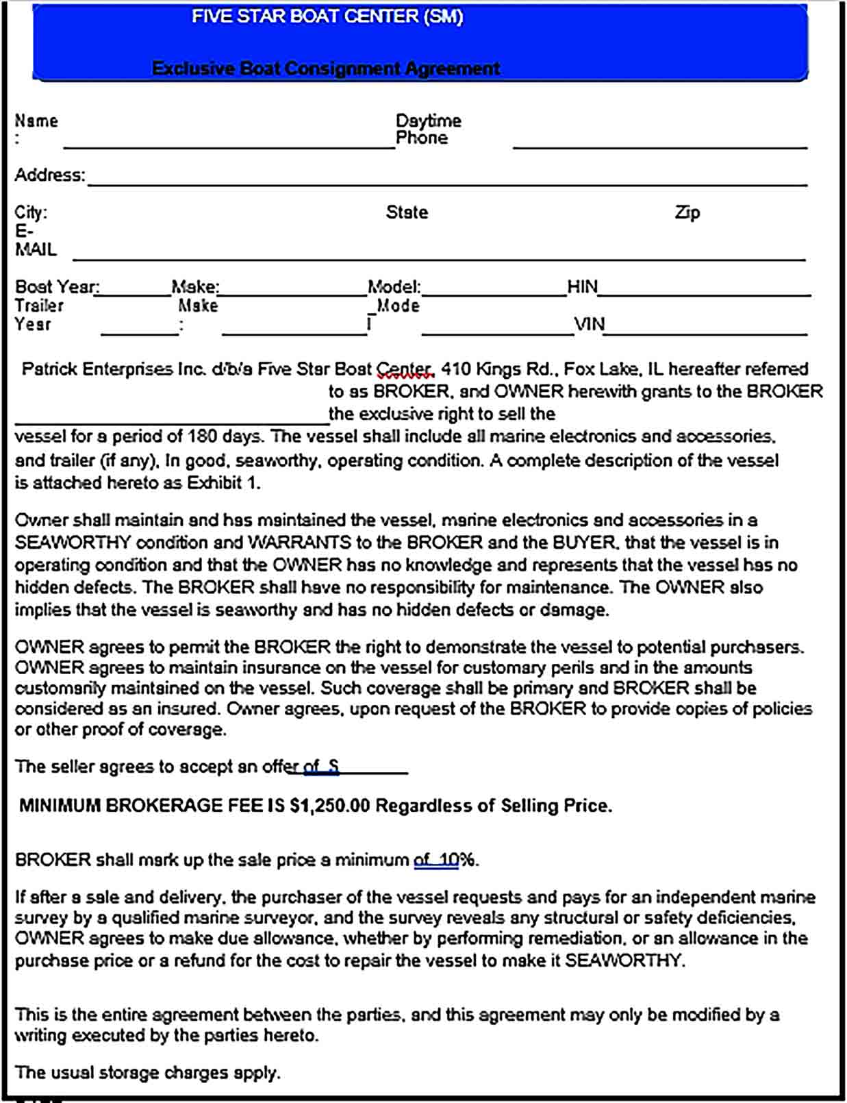 Sample Boat Consignment Agreement