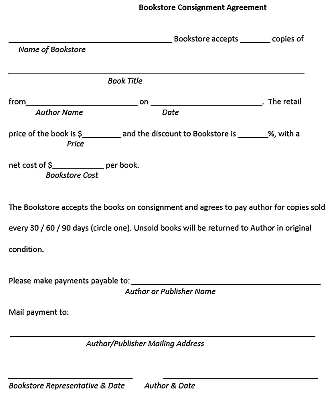 Sample Bookstore Consignment Agreement