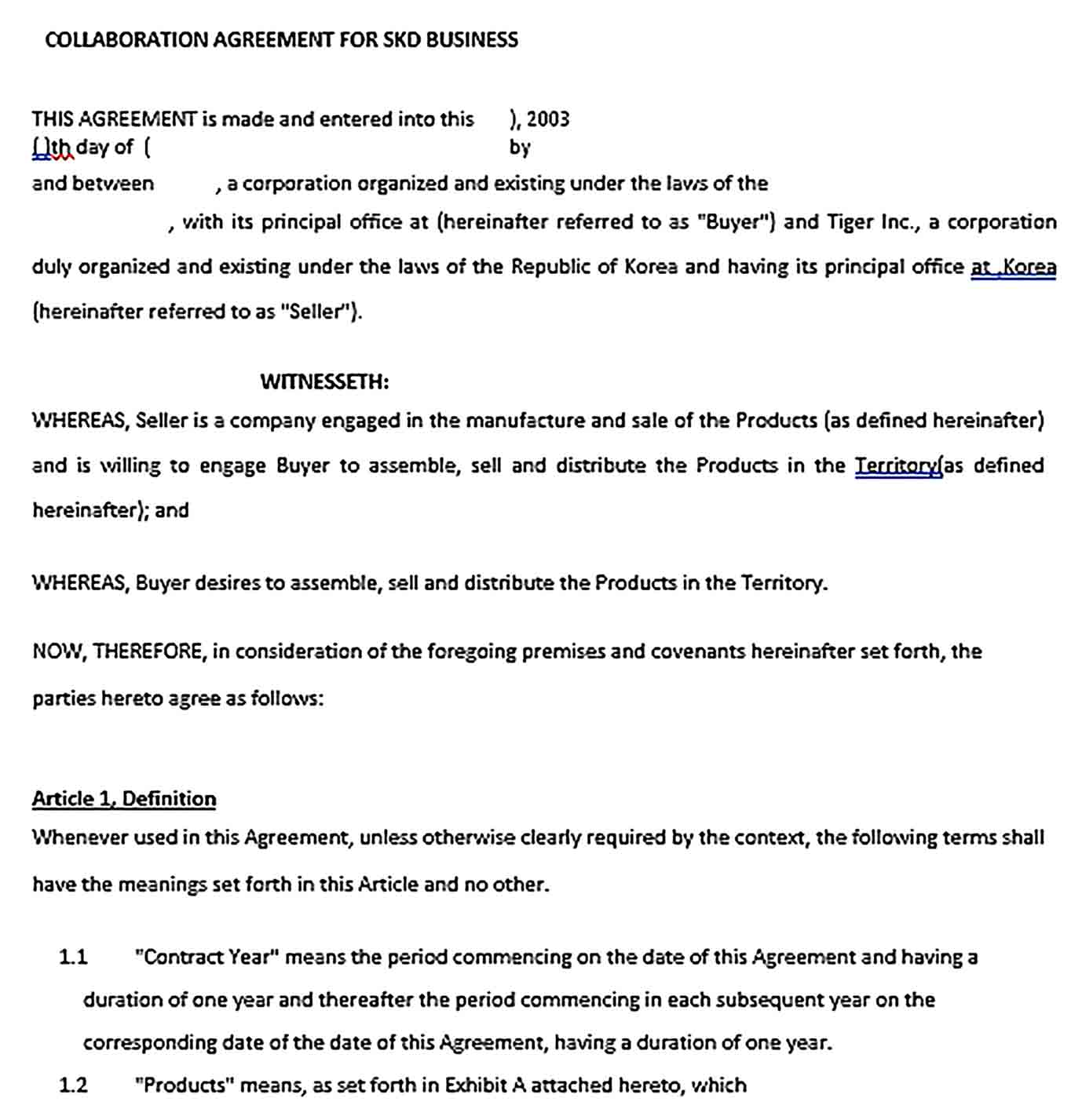 Sample Business Collaboration Agreement