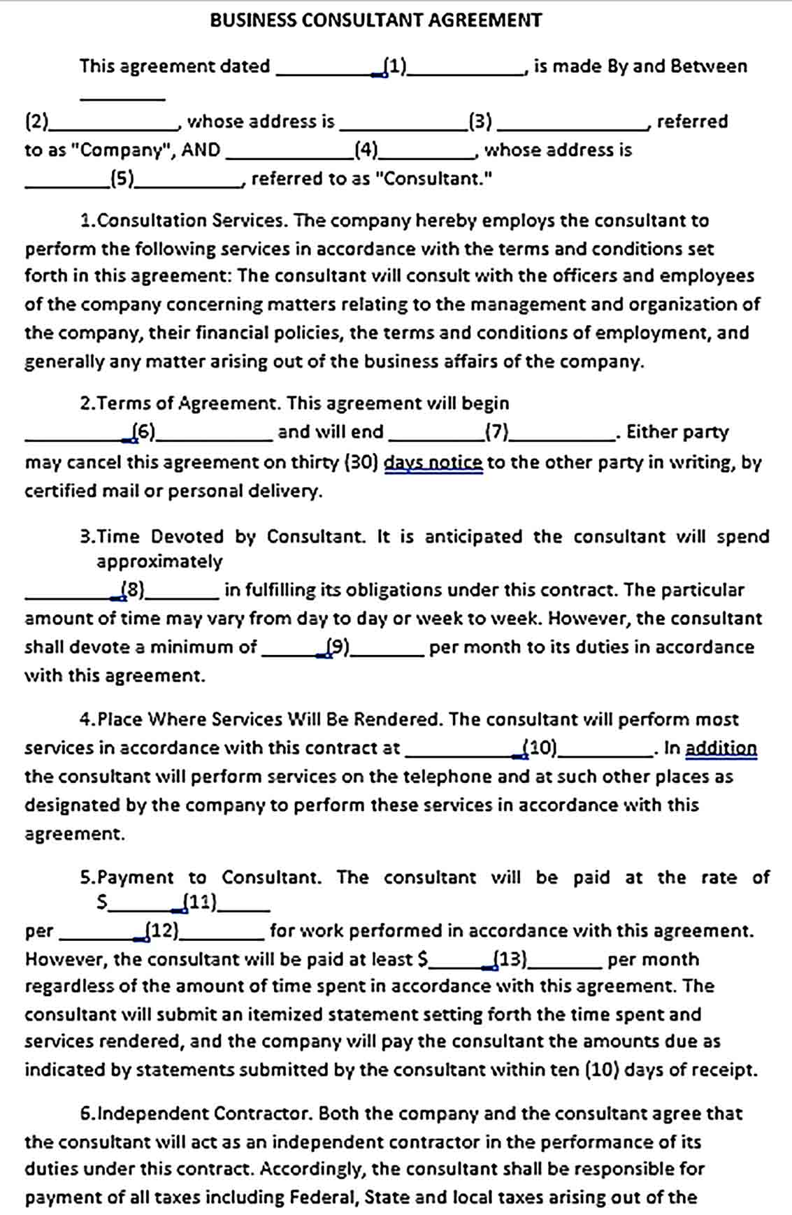 Sample Business Consultant Agreement