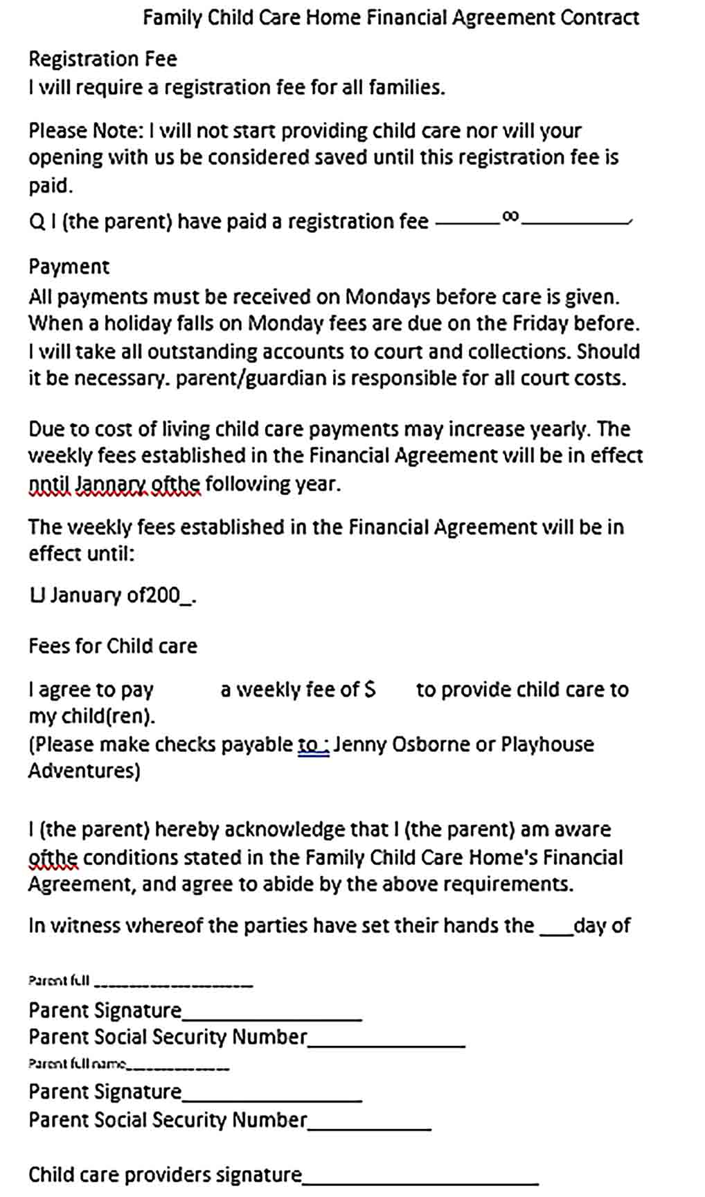 Sample Child Care Financial Agreement