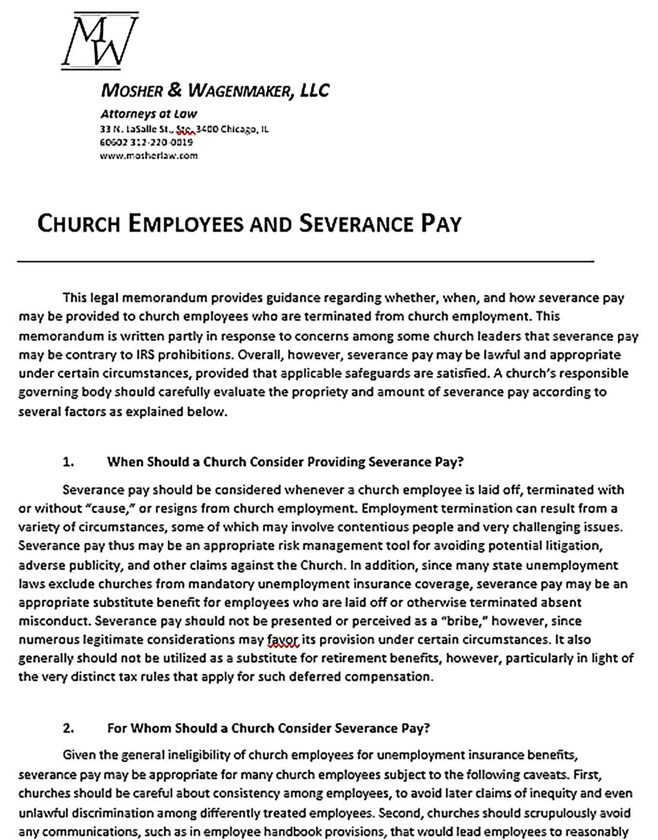 Sample Church Confidentiality Agreement Employees and Severance Pay