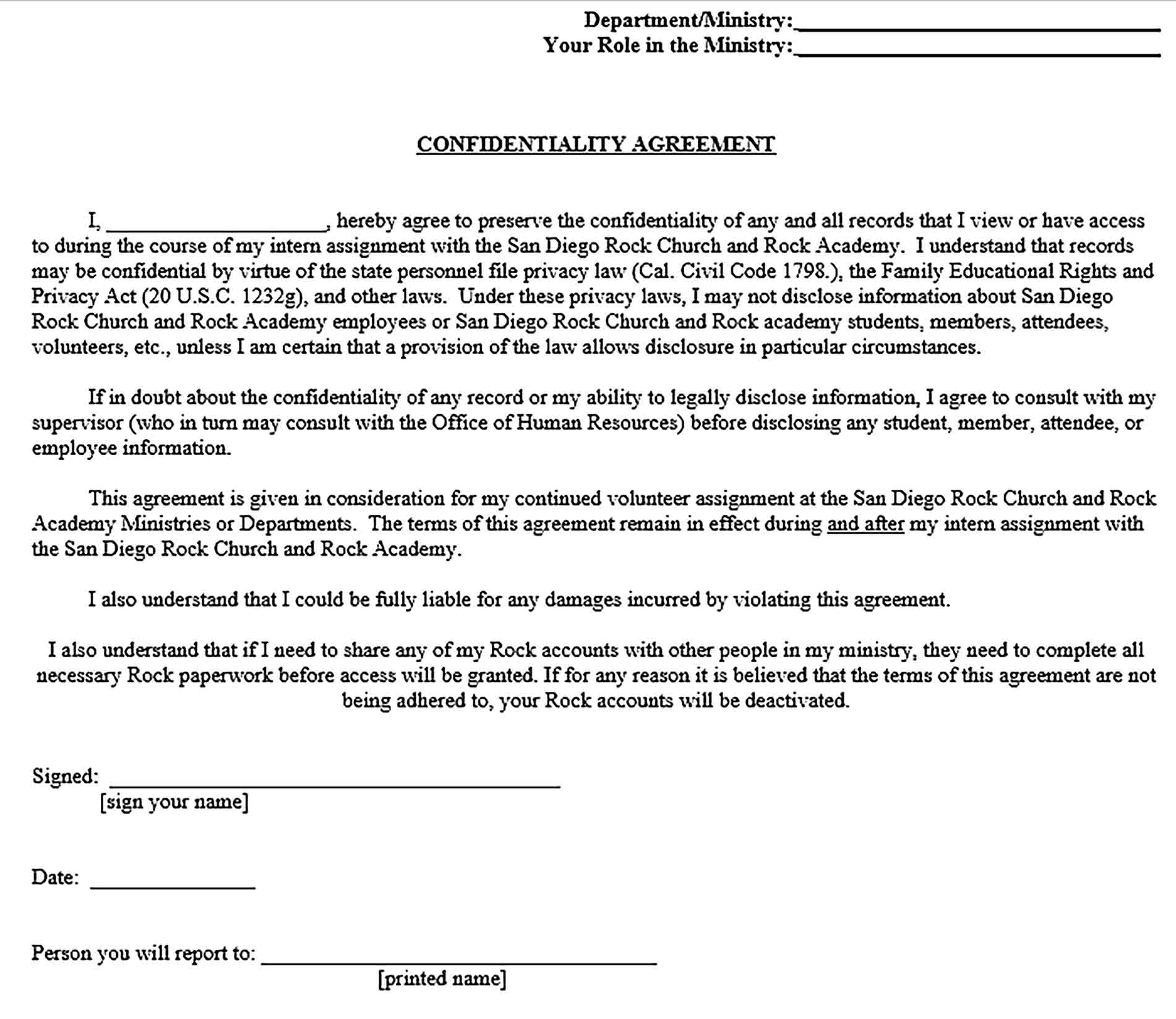 Sample Church Confidentiality Agreement for Employee