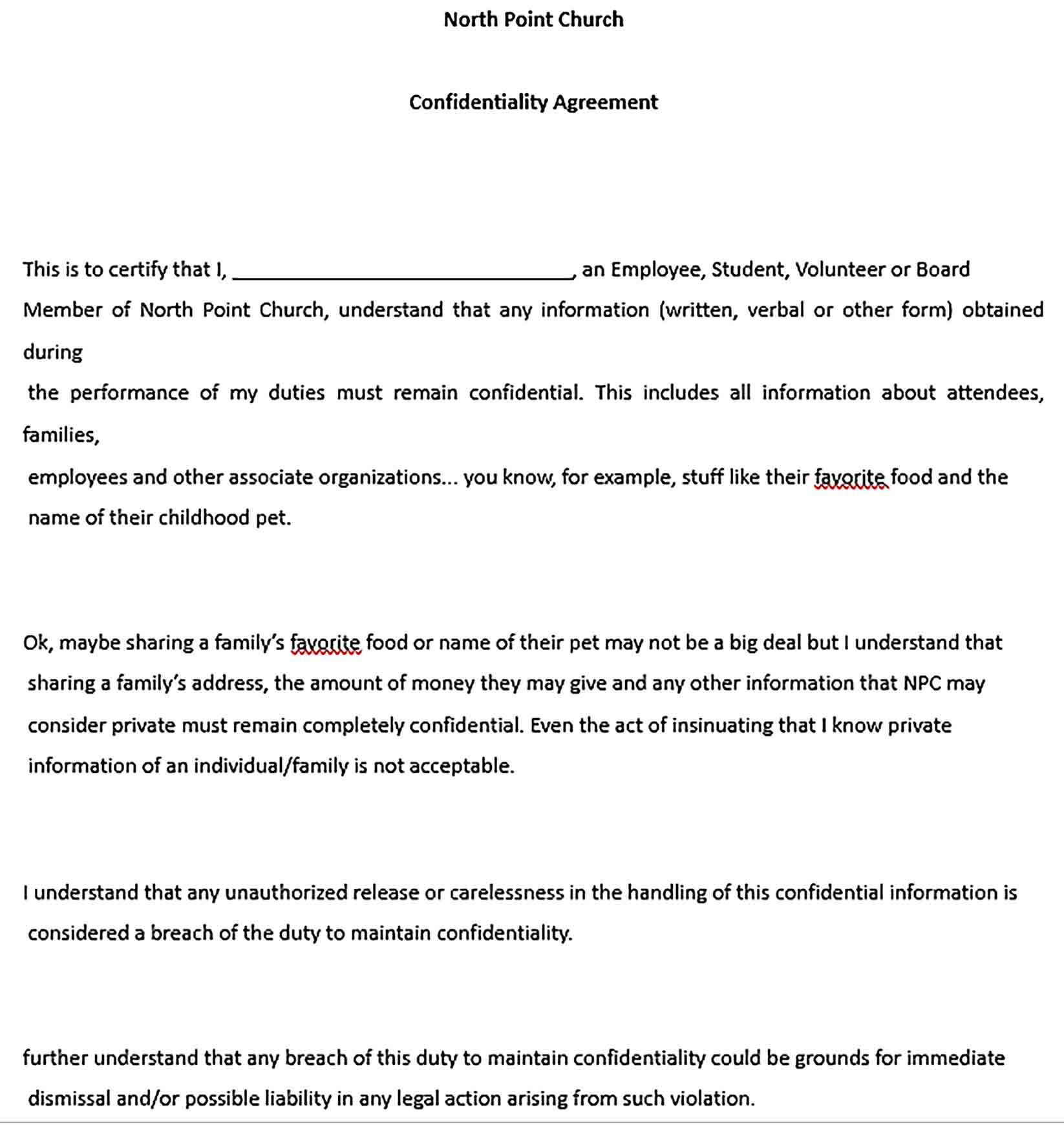 Sample Church Confidentiality Agreement