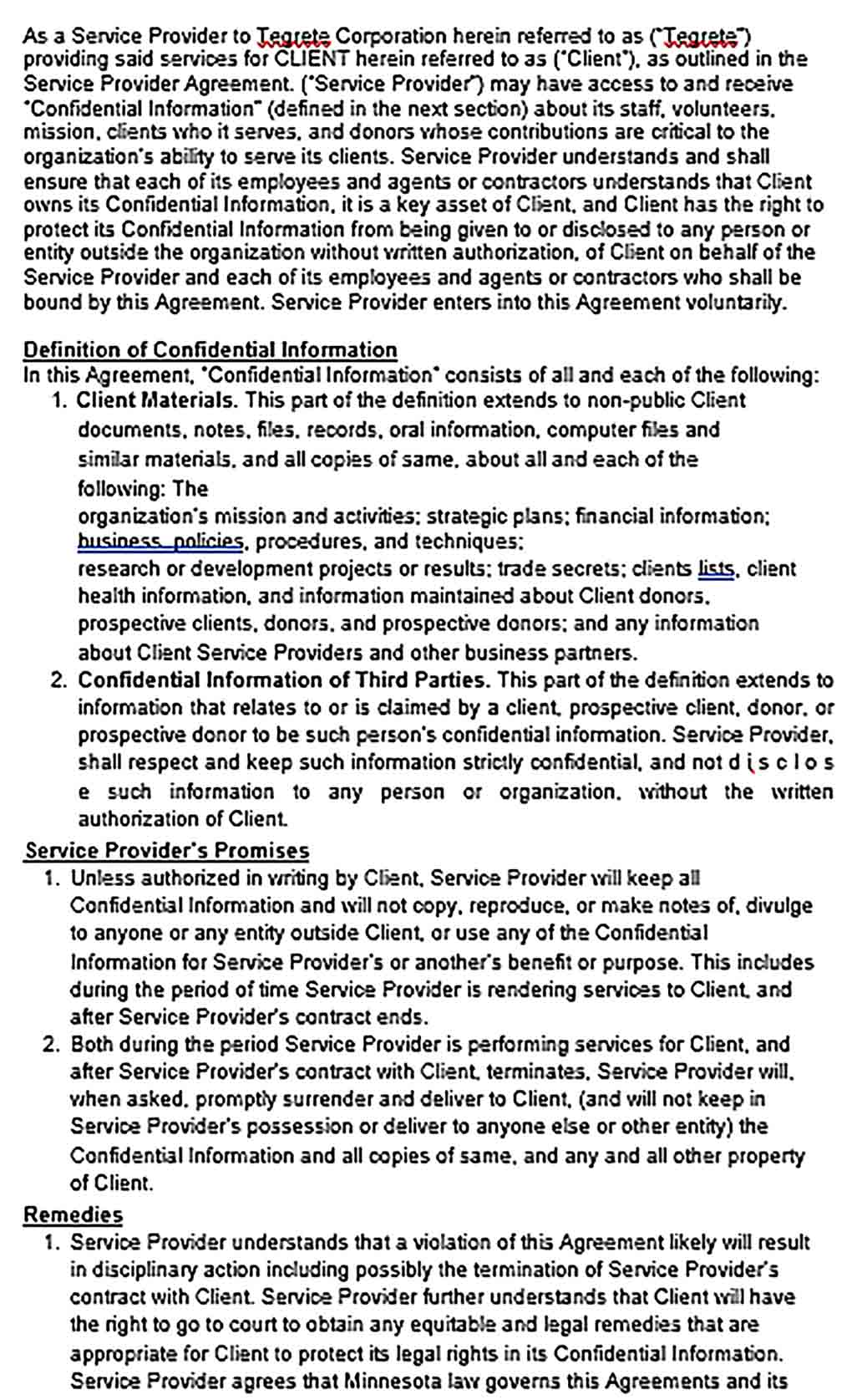 Sample Client Confidentiality Agreement