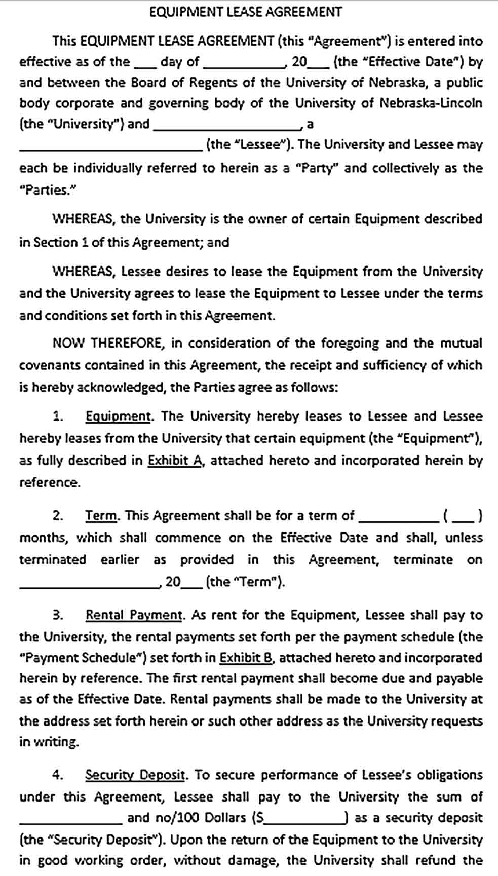 Sample Commercial Equipment Lease Agreement