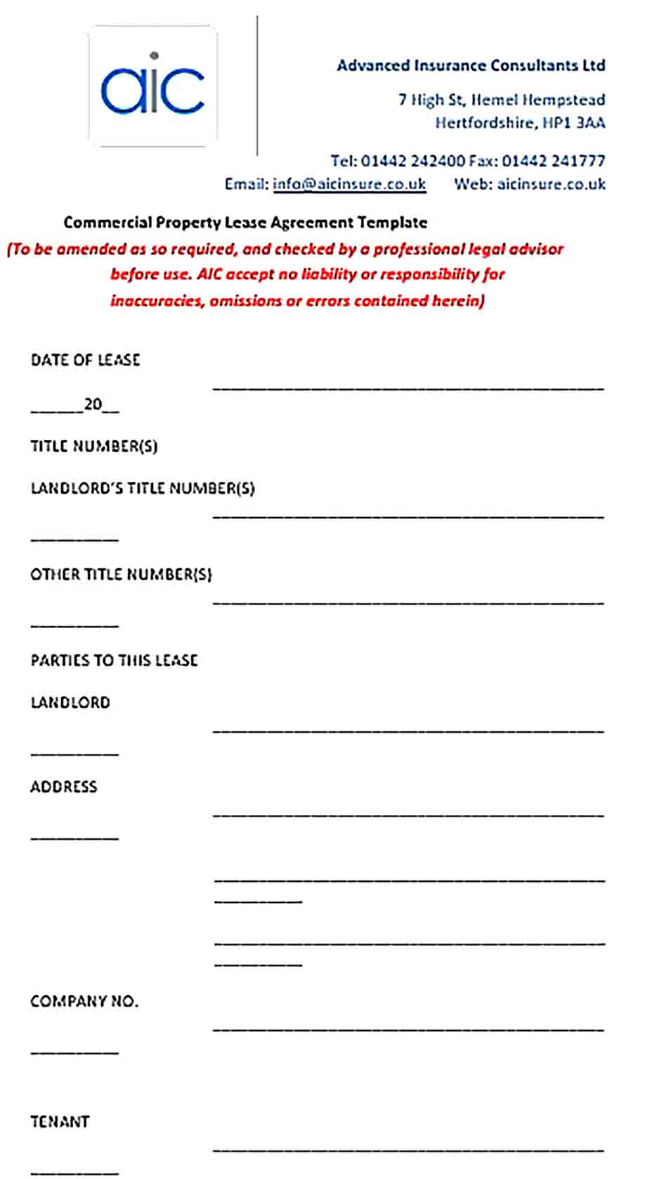 Sample Commercial Property Lease Agreement