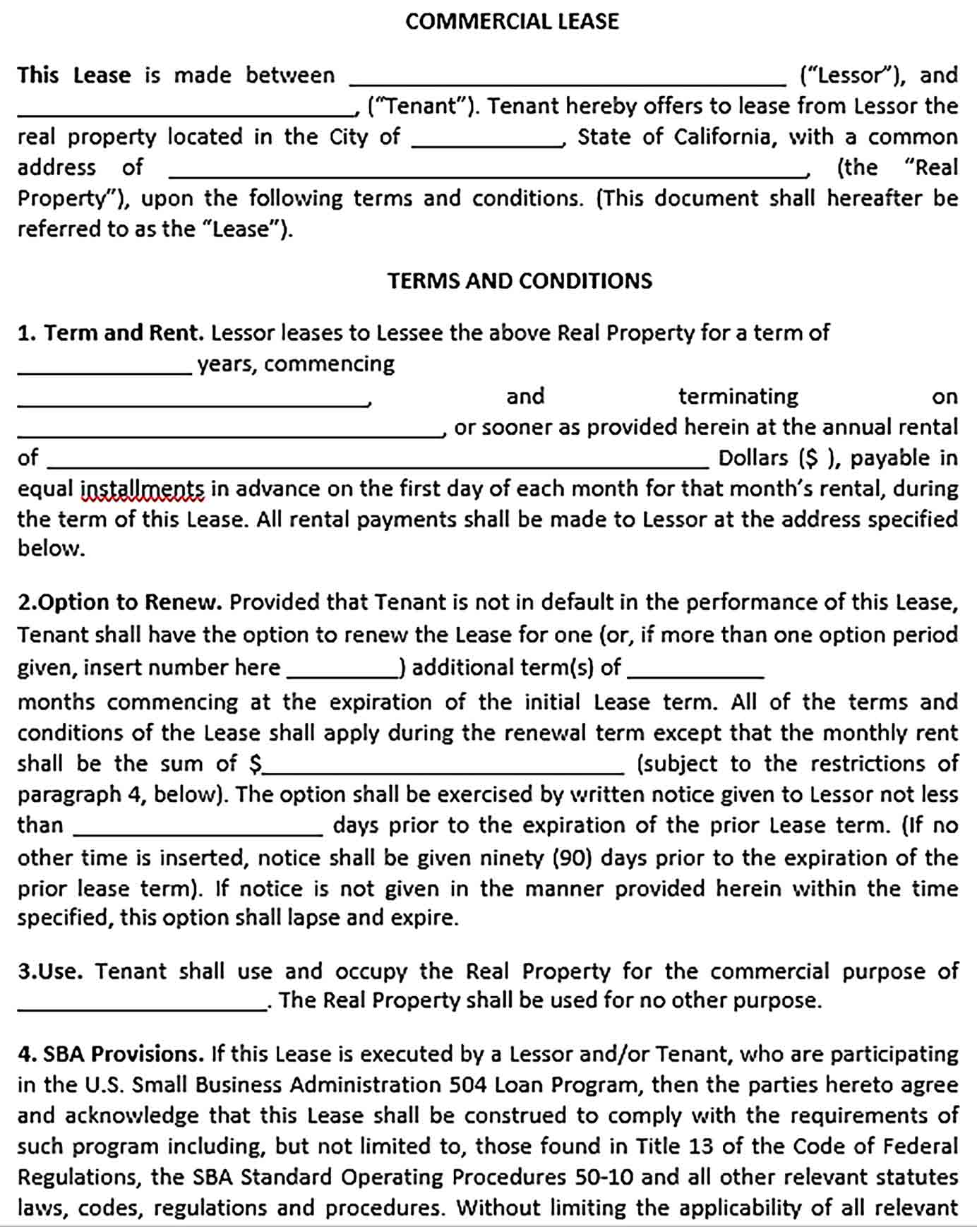 Sample Commercial Real Estate Lease Agreement