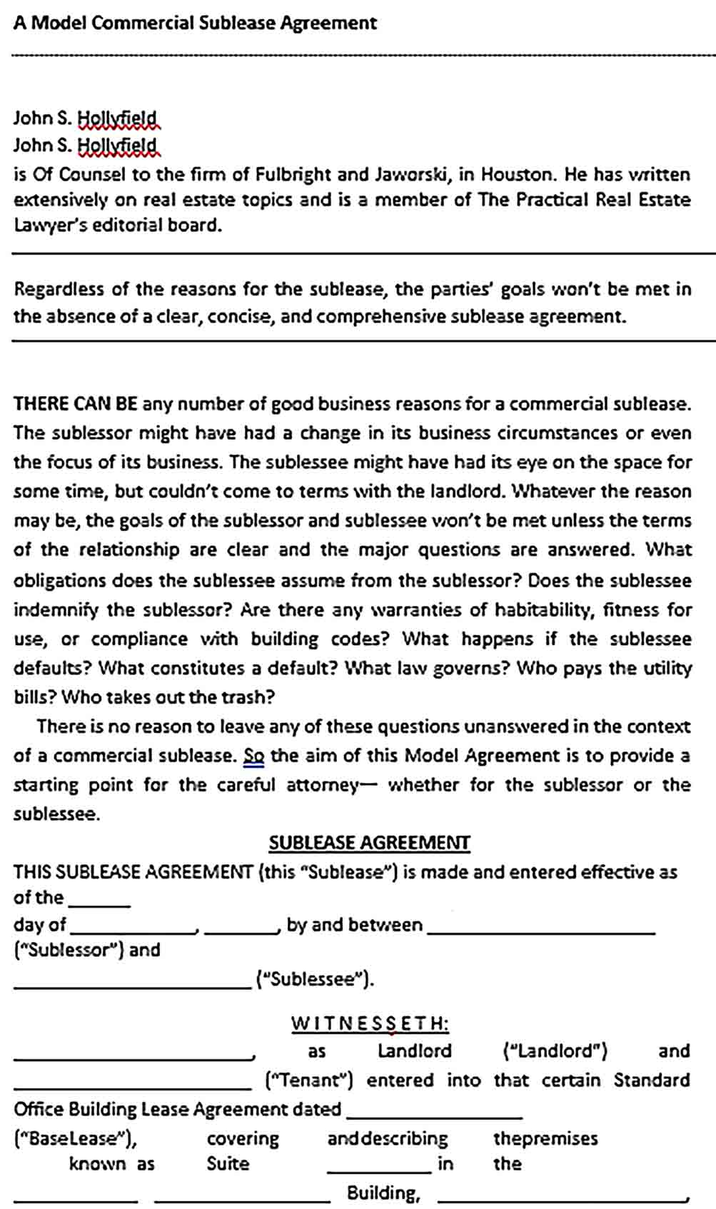 Sample Commercial Sublease Agreement