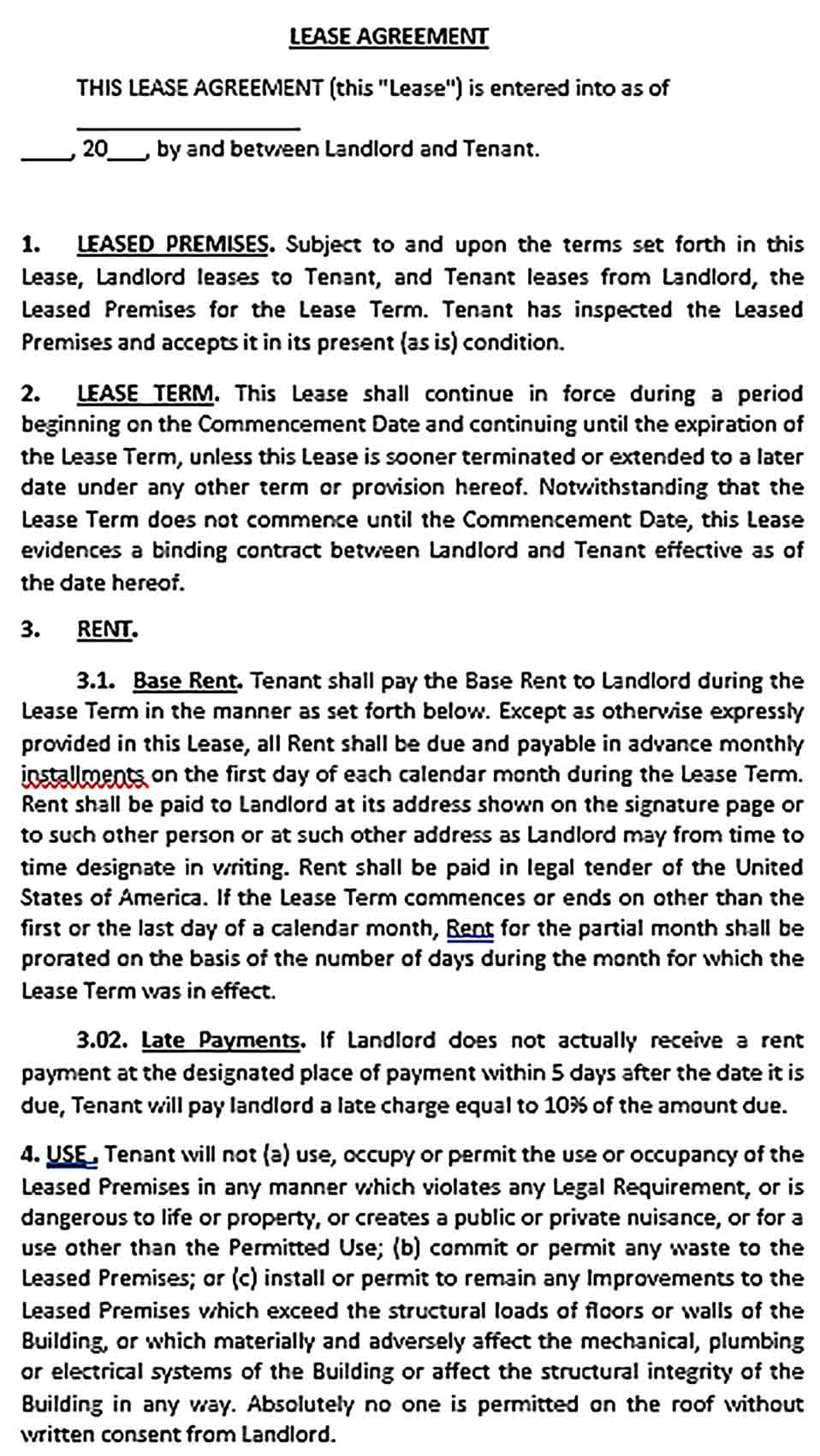 Sample Commercial Tenant Lease Agreement