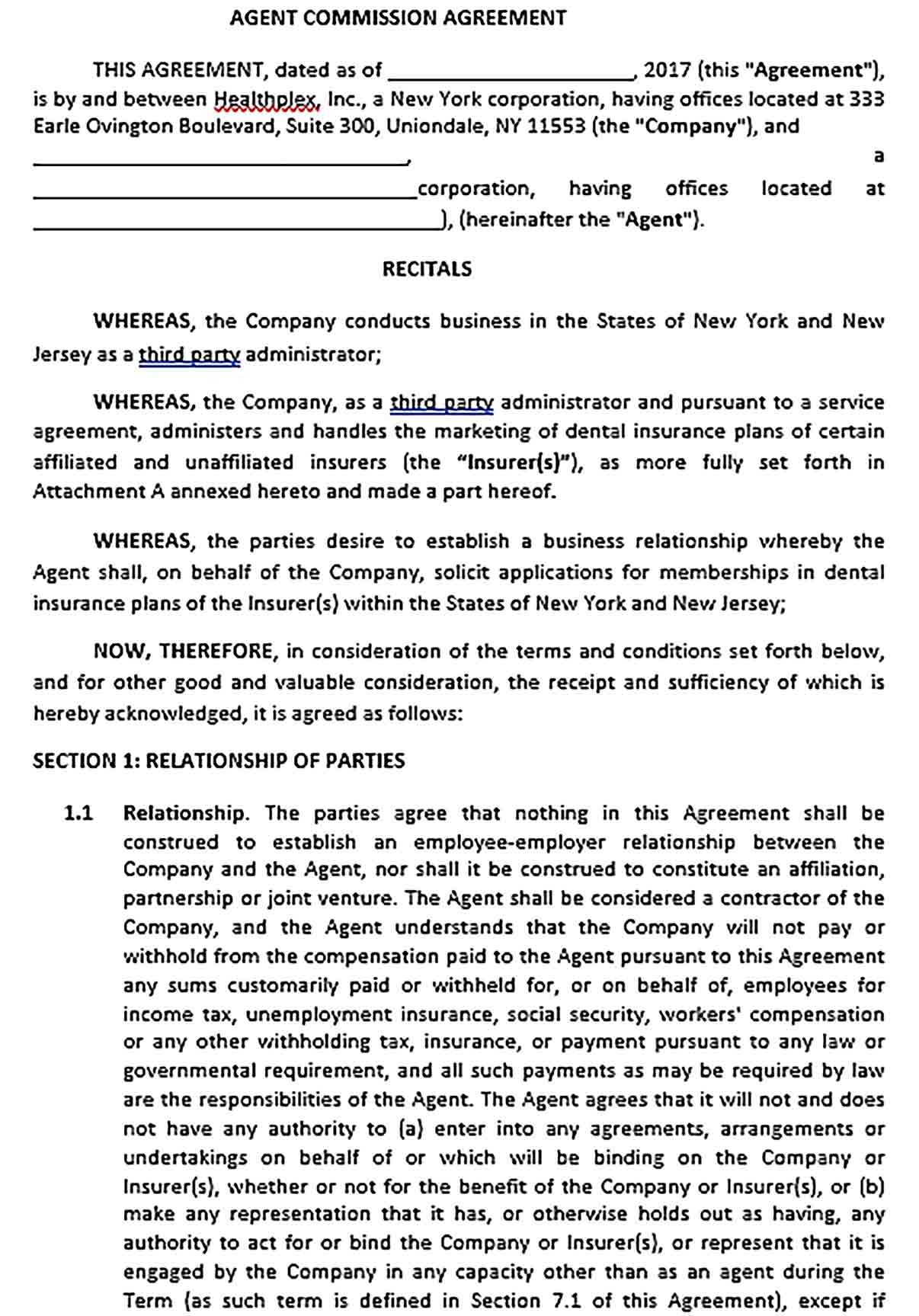 Sample Commission Agent Agreement