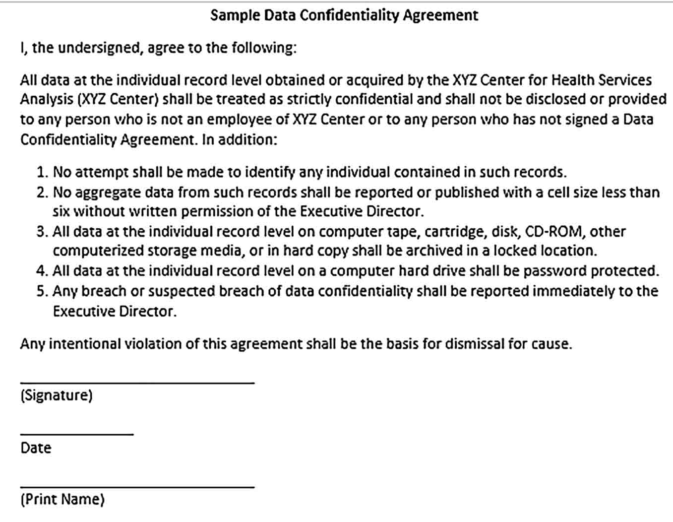 Sample Computer Data Confidentiality Agreement