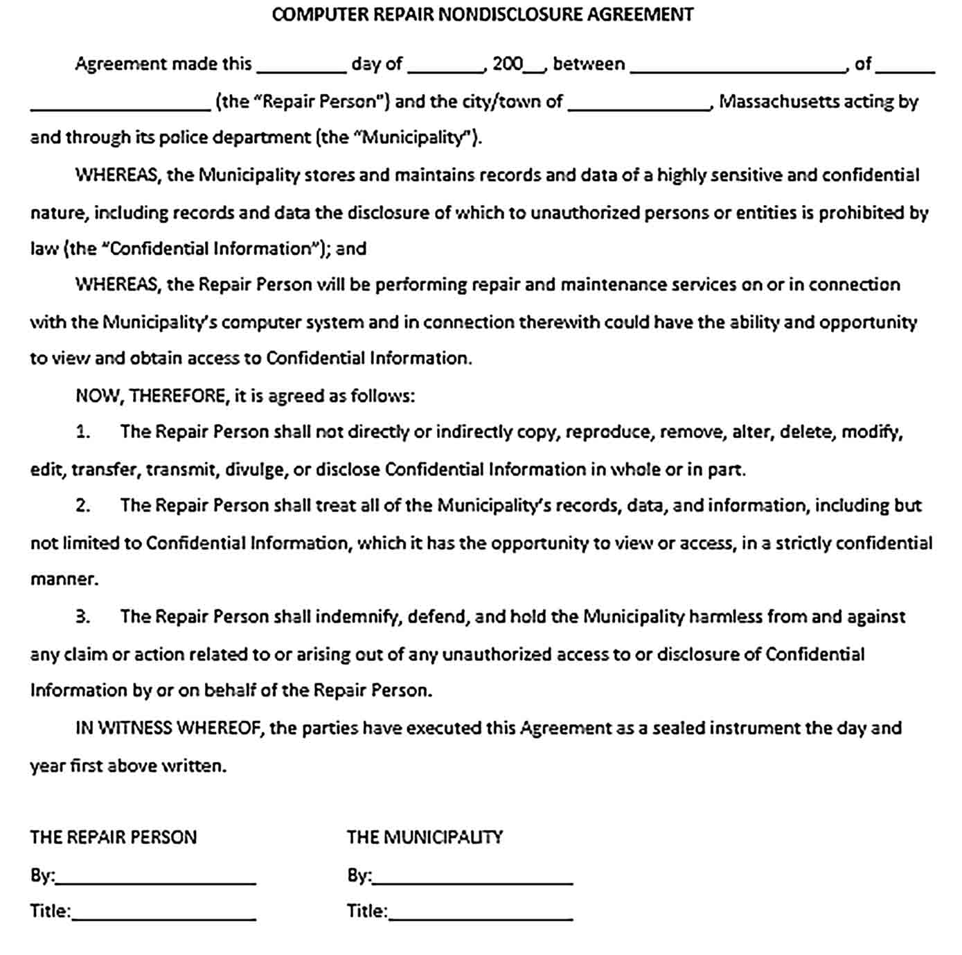 Sample Computer Repair Non Disclosure Confidentiality Agreement DOC