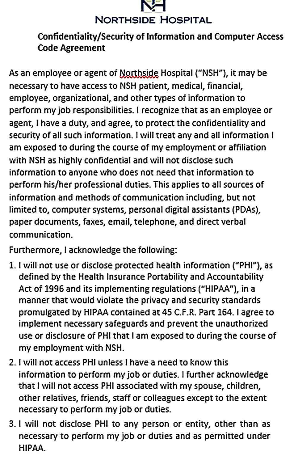 Sample Computer Security Confidentiality Agreement