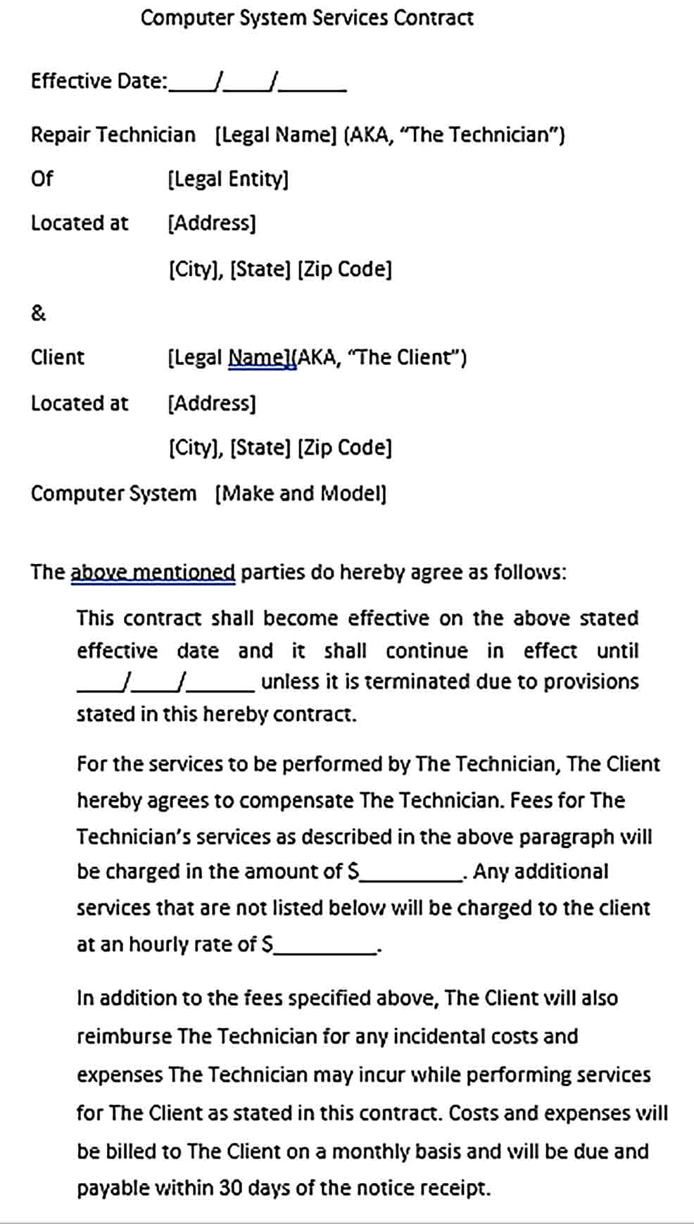 Sample Computer System Services Contract