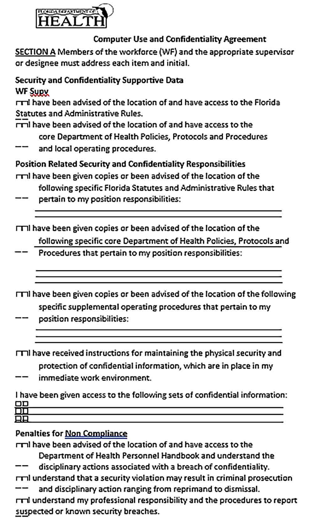 Sample Computer Use and Confidentiality Agreement