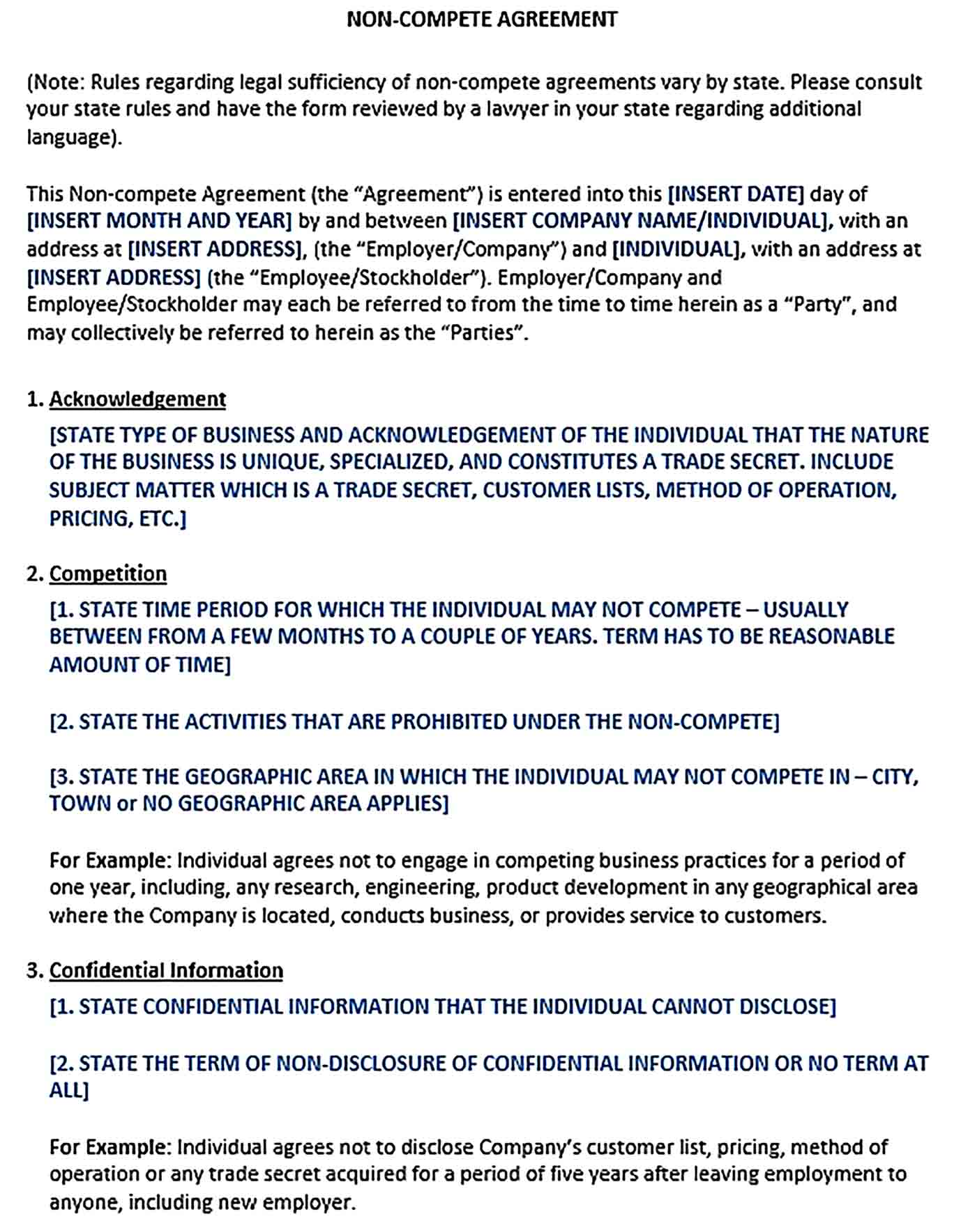 Sample Confidentiality Non Compete Agreement