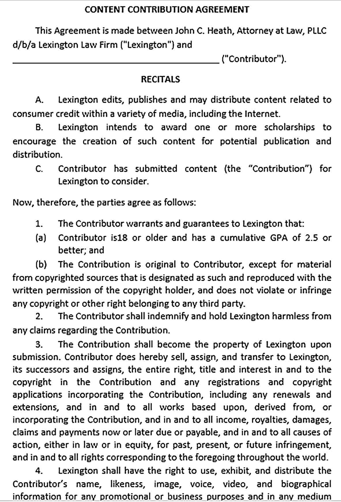 Sample Content Contribution Agreement