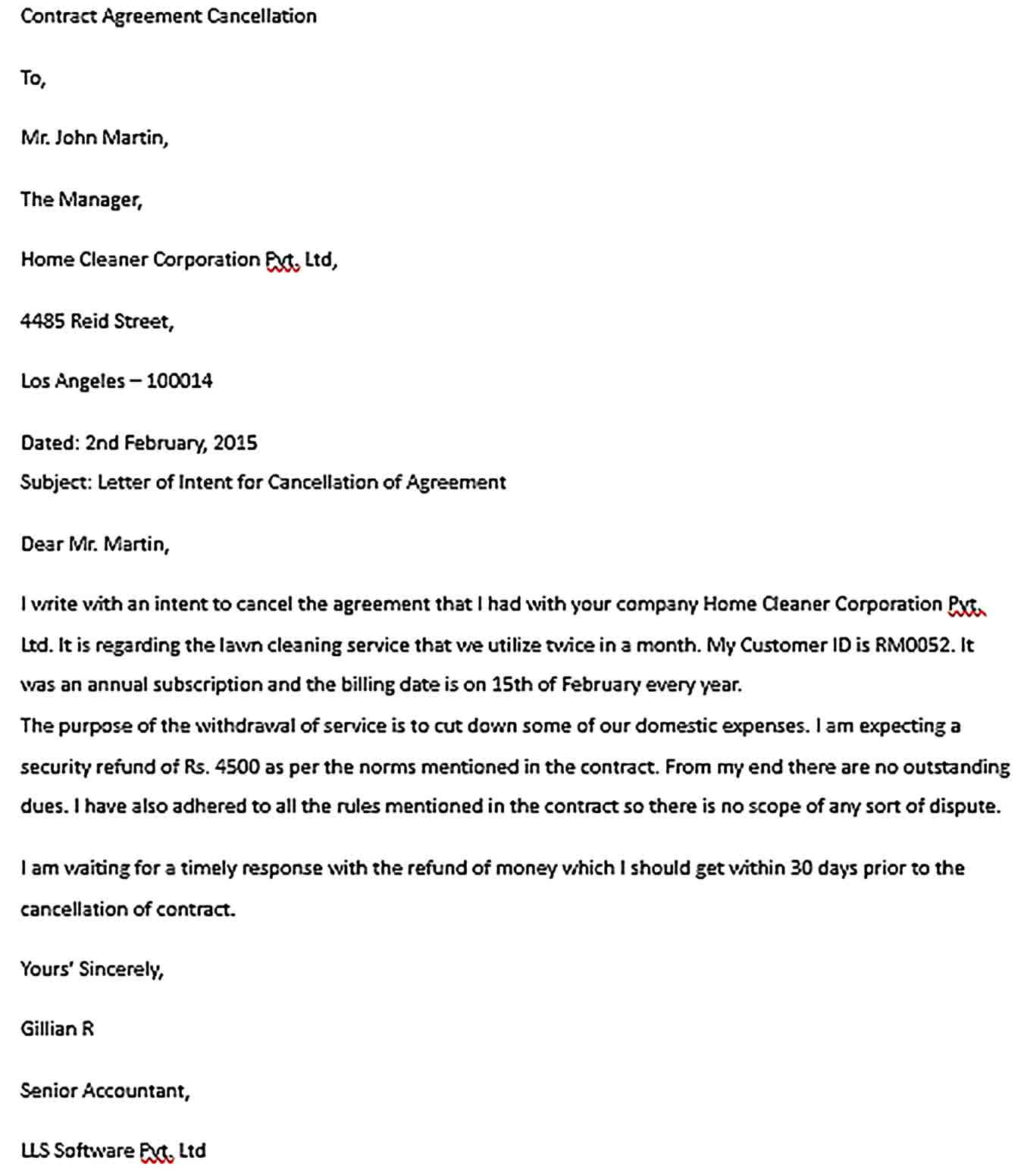 Sample Contract Agreement Cancellation