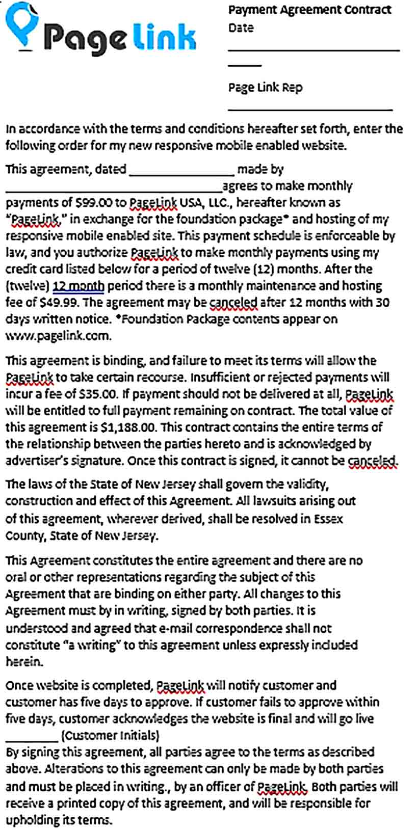 Sample Contract Payment Agreement