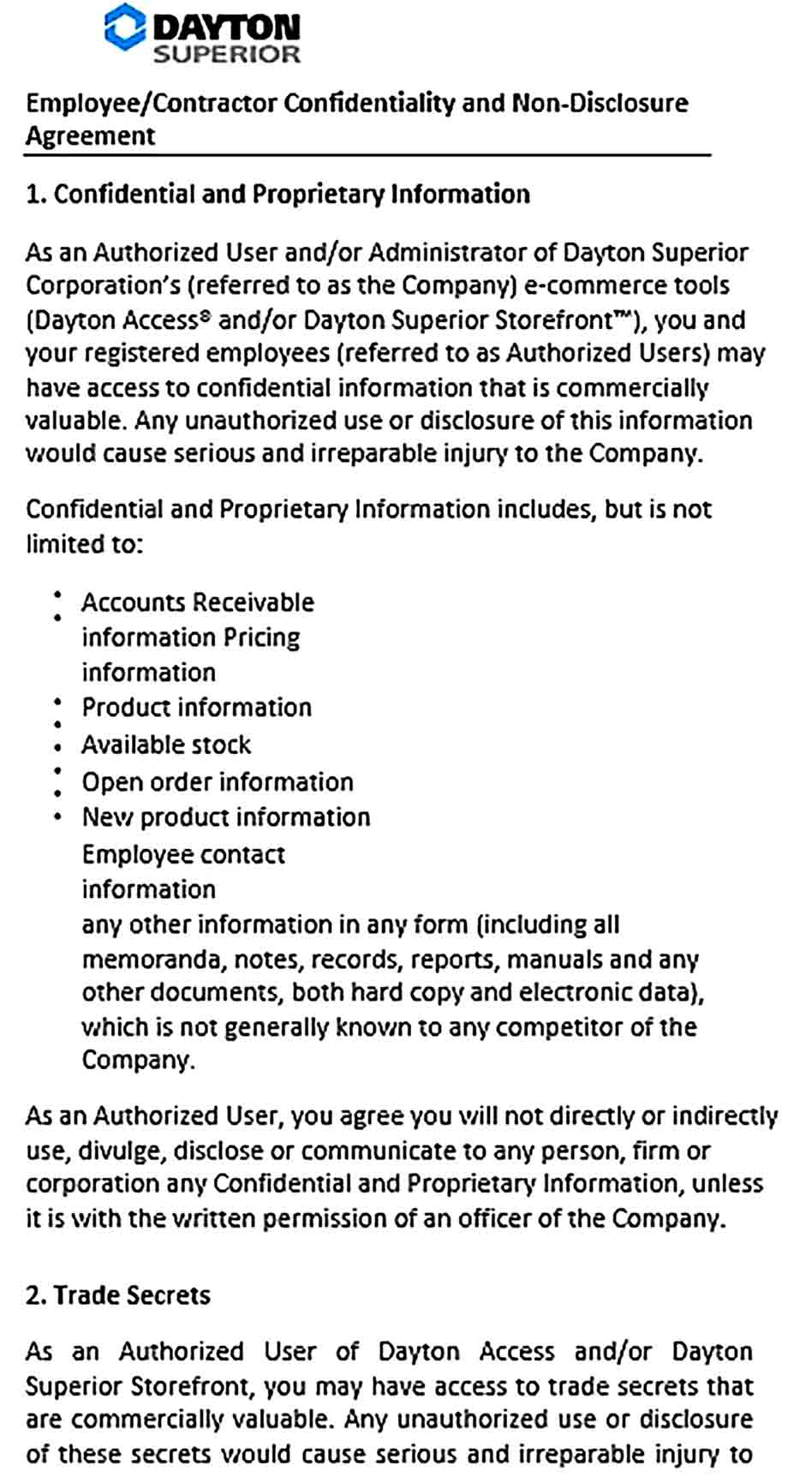 Sample Contractor Confidentiality Agreement for Employment Contractor