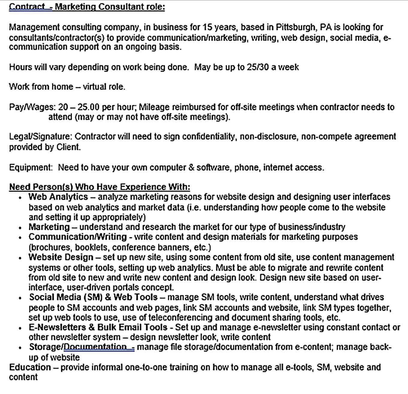 Sample Contractor Confidentiality Agreement for Marketing Contractor