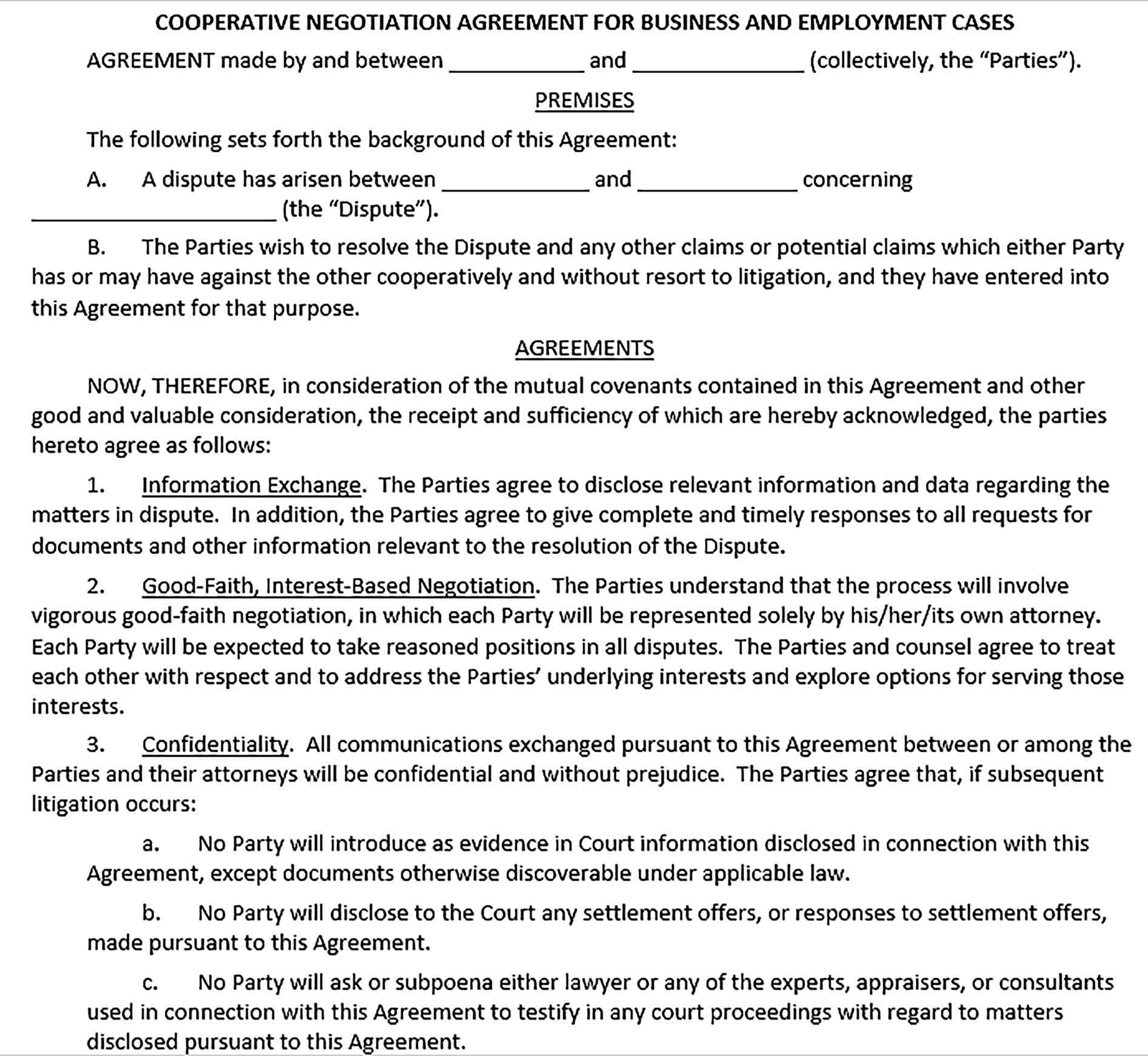 Sample Cooperative Confidentiality Negotiation Agreement