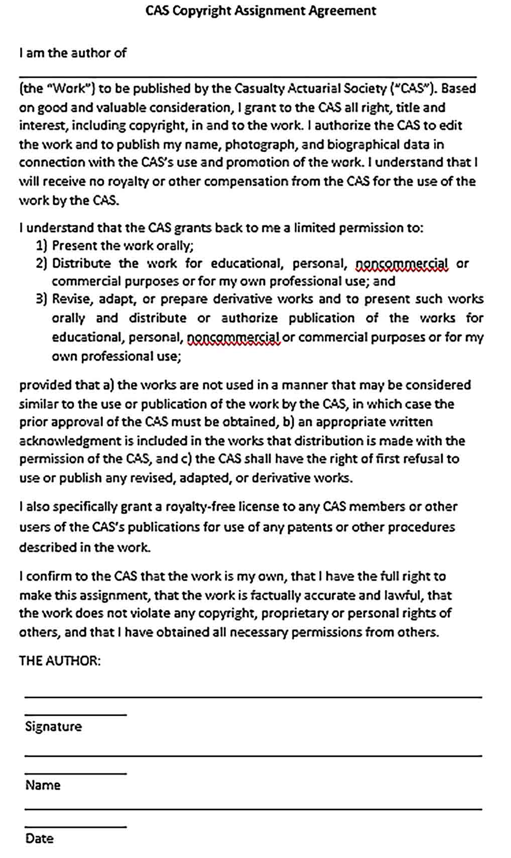 Sample Copyright Assignment Agreement