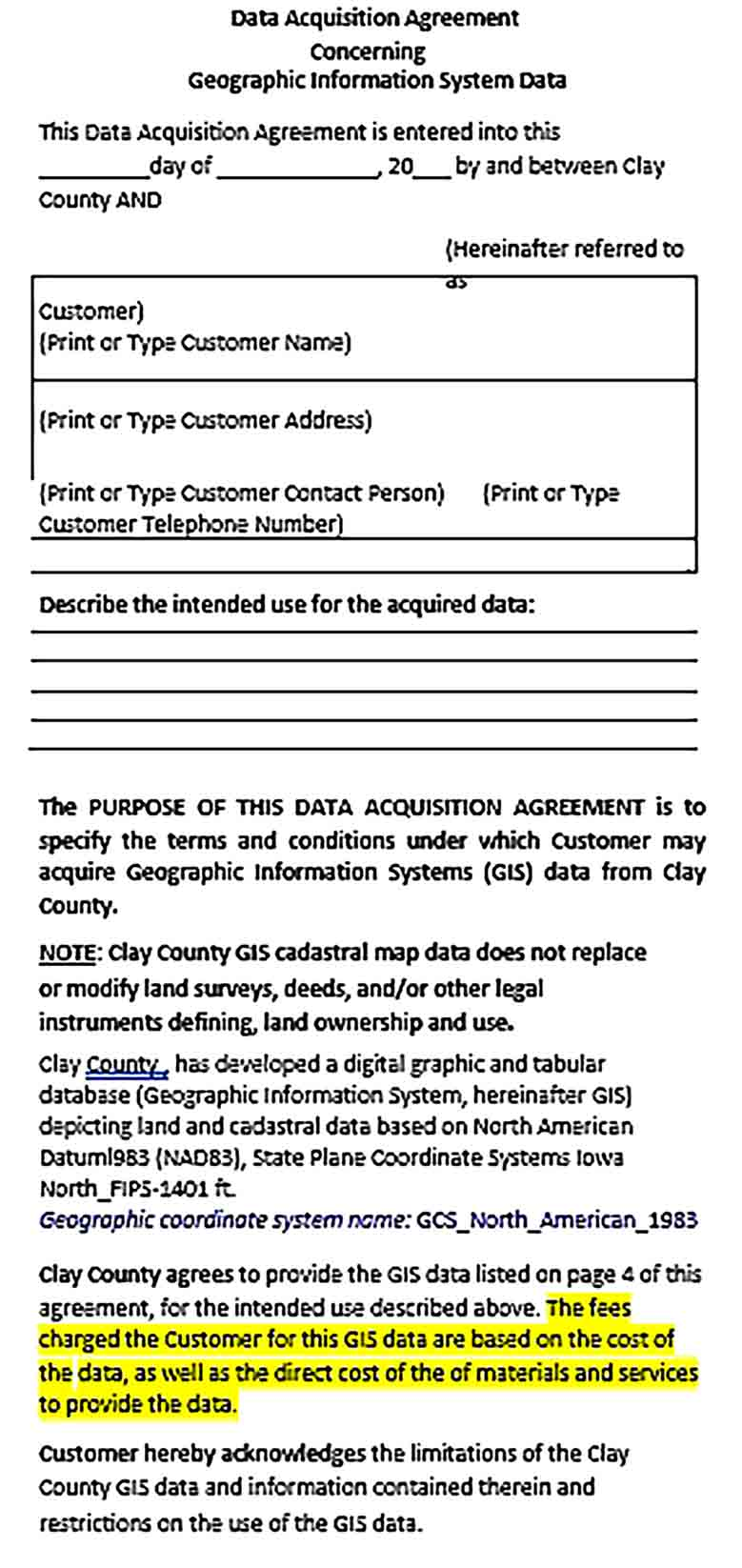 Sample Data Acquisition Agreement