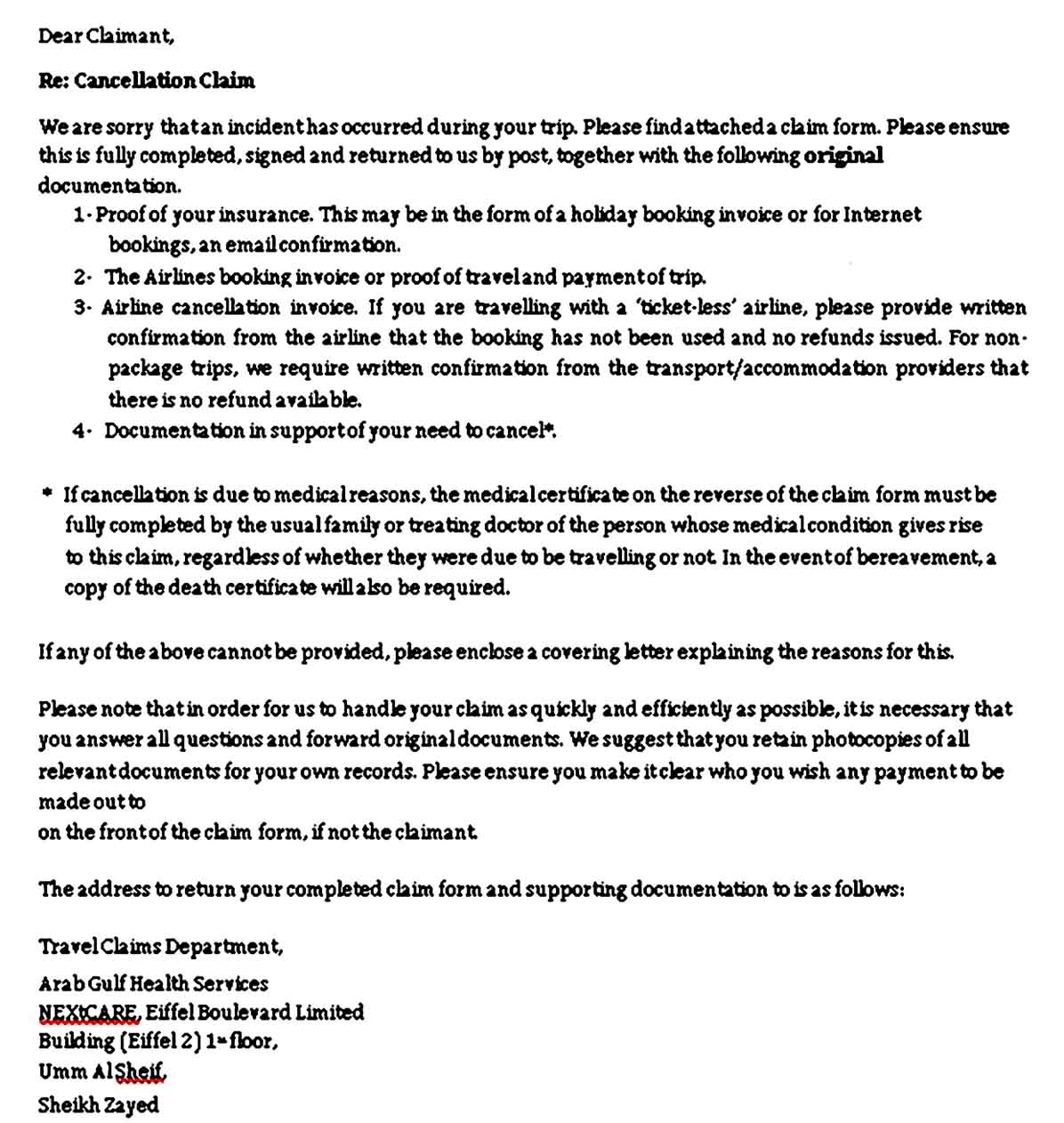 Sample Doctors Note For Travel Claim Cancellation Form Printable