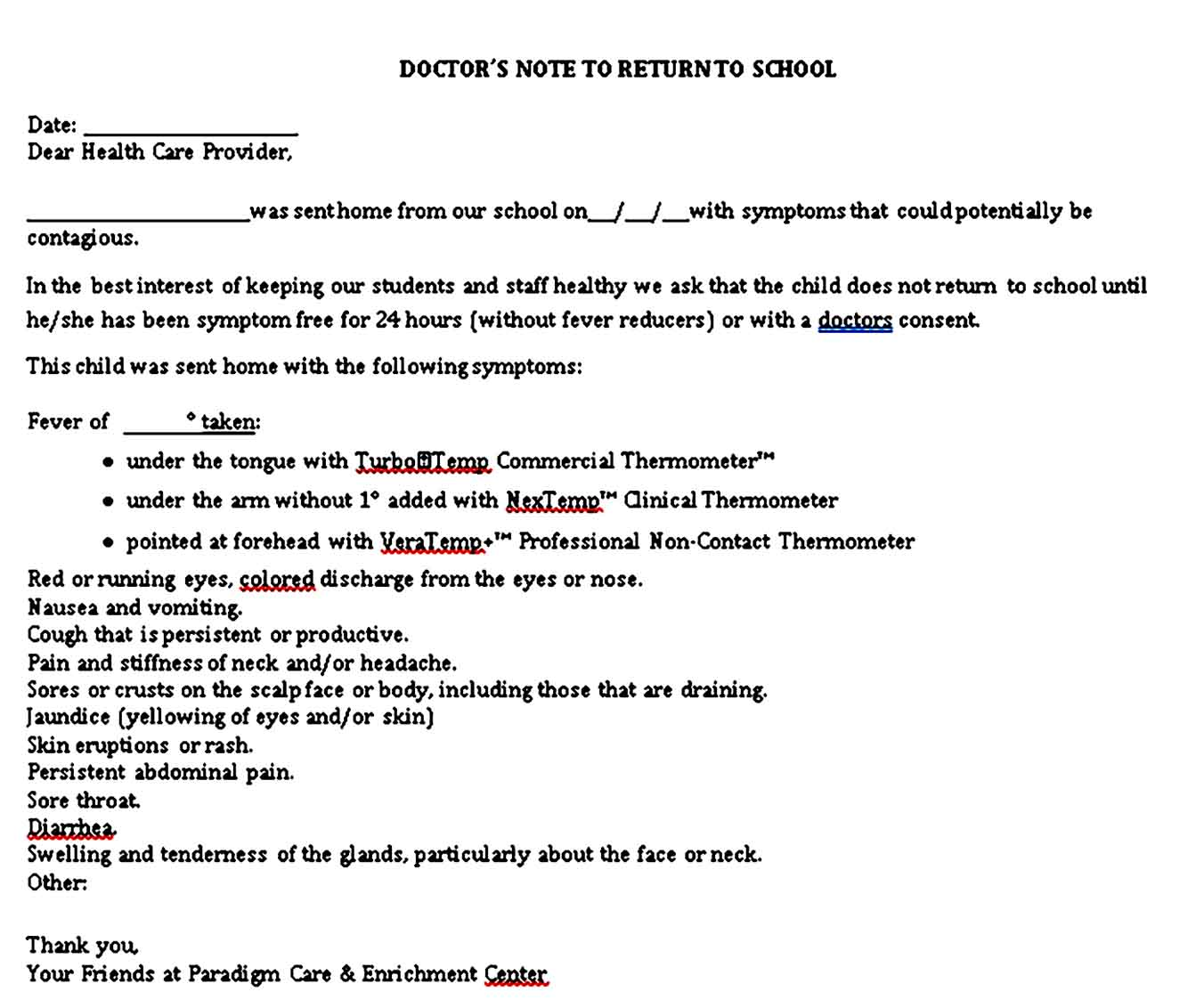 Sample Doctors Note for Student 1