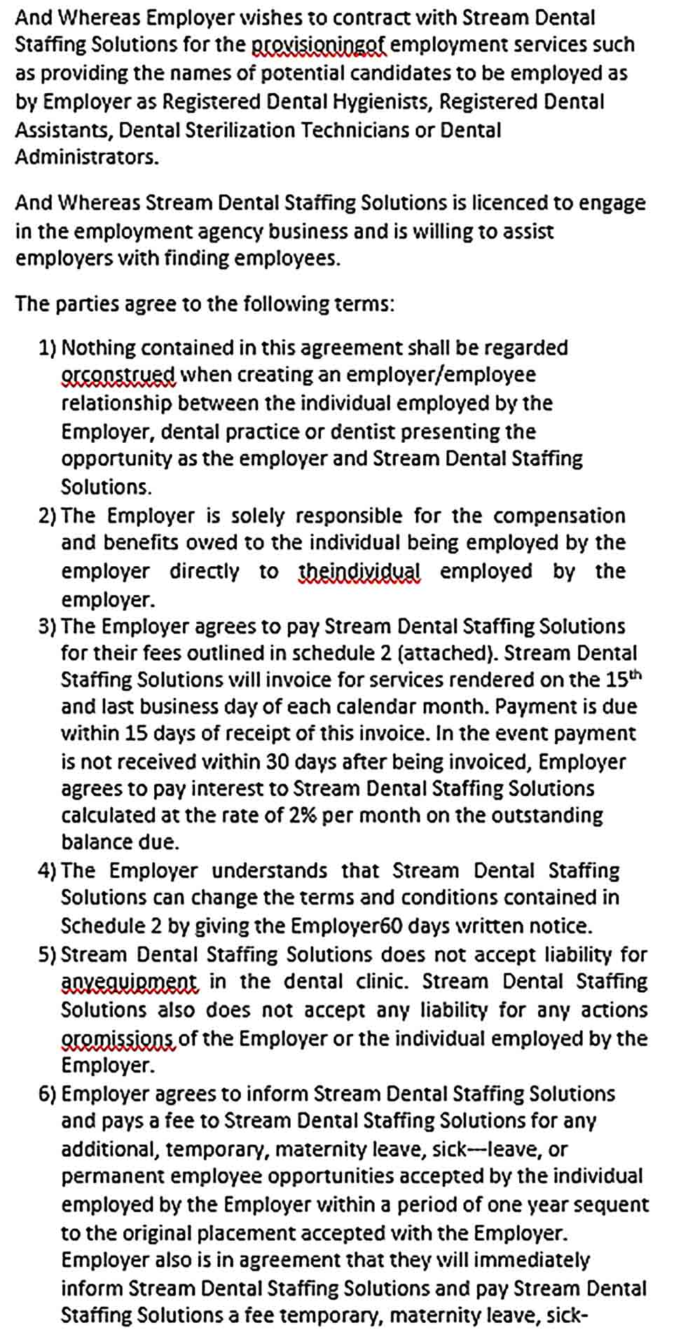 Sample Employment Agency Agreement