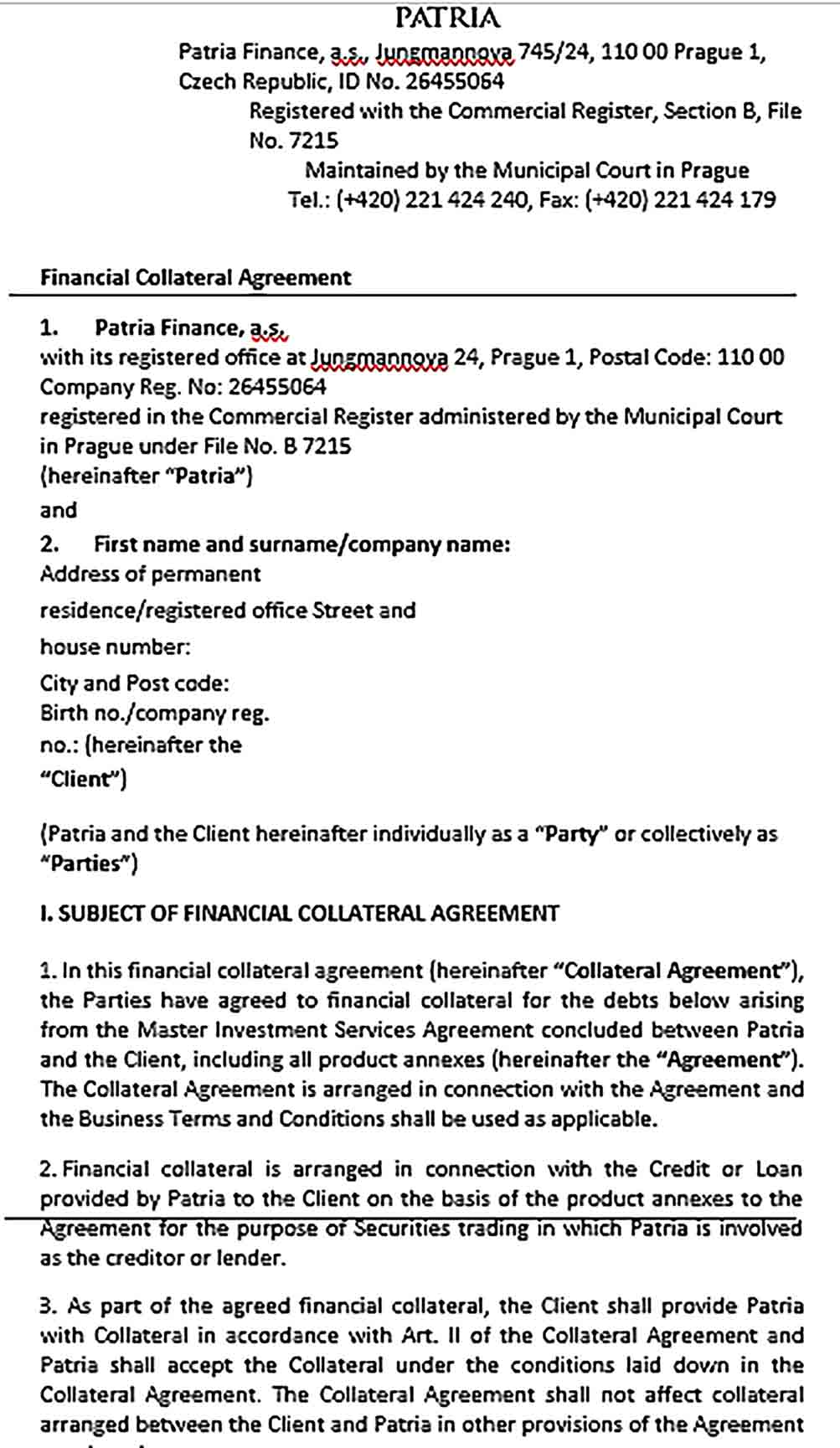 Sample Financial Collateral Agreement