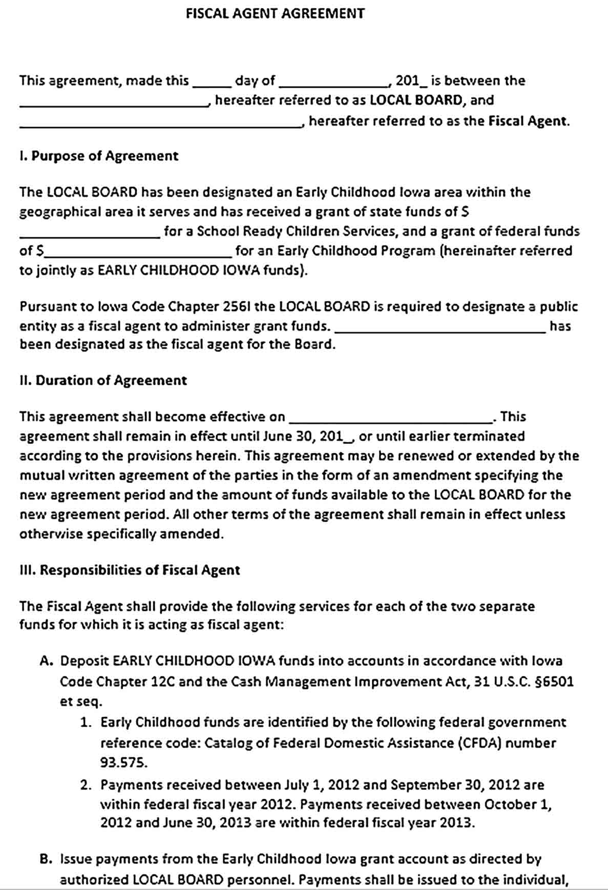 Sample Fiscal Agent Agreement